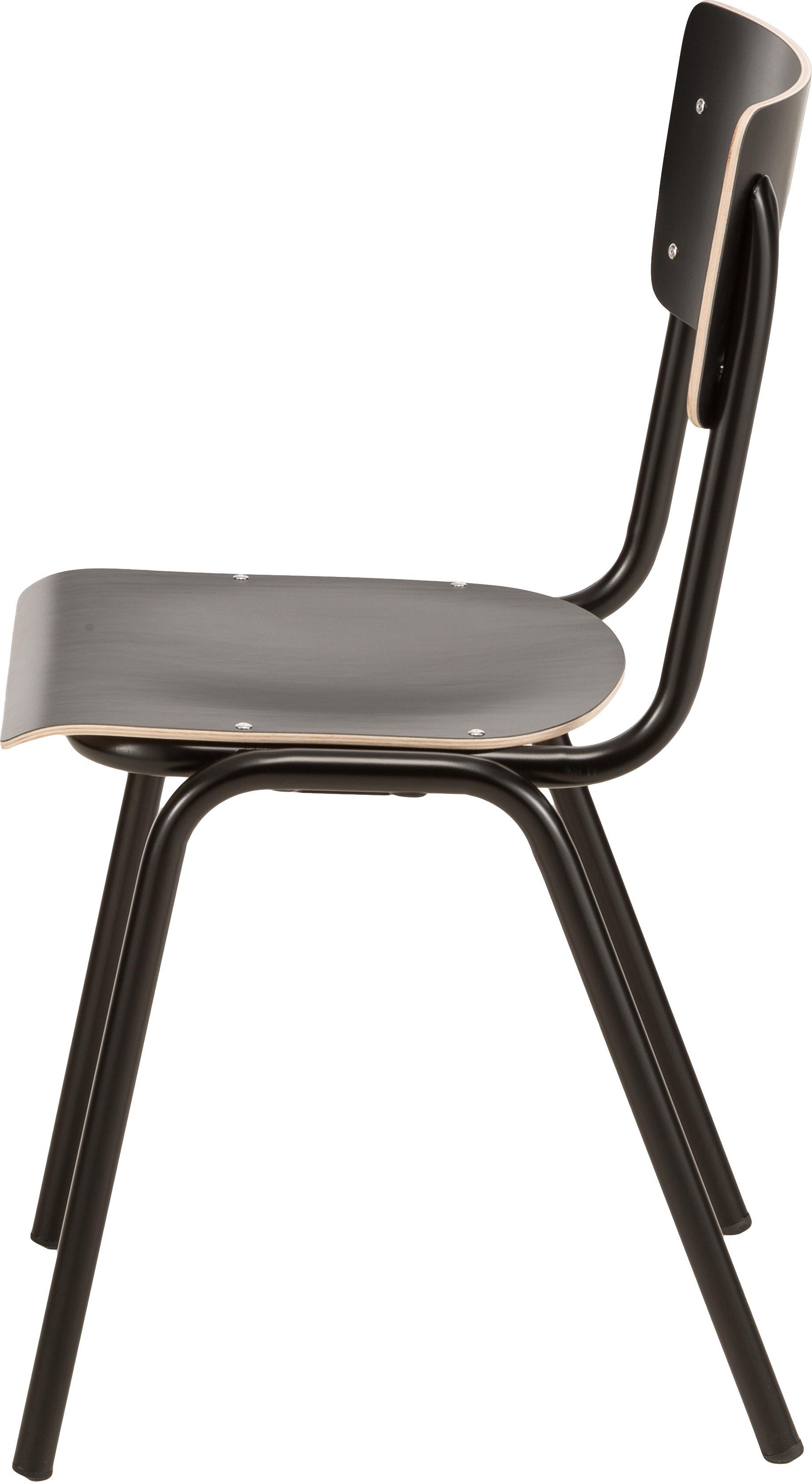 Sedia Back to School, 4 pz., Gambe: metallo verniciato a polv, Seduta: laminato, Nero, Larg. 43 x Alt. 83 cm