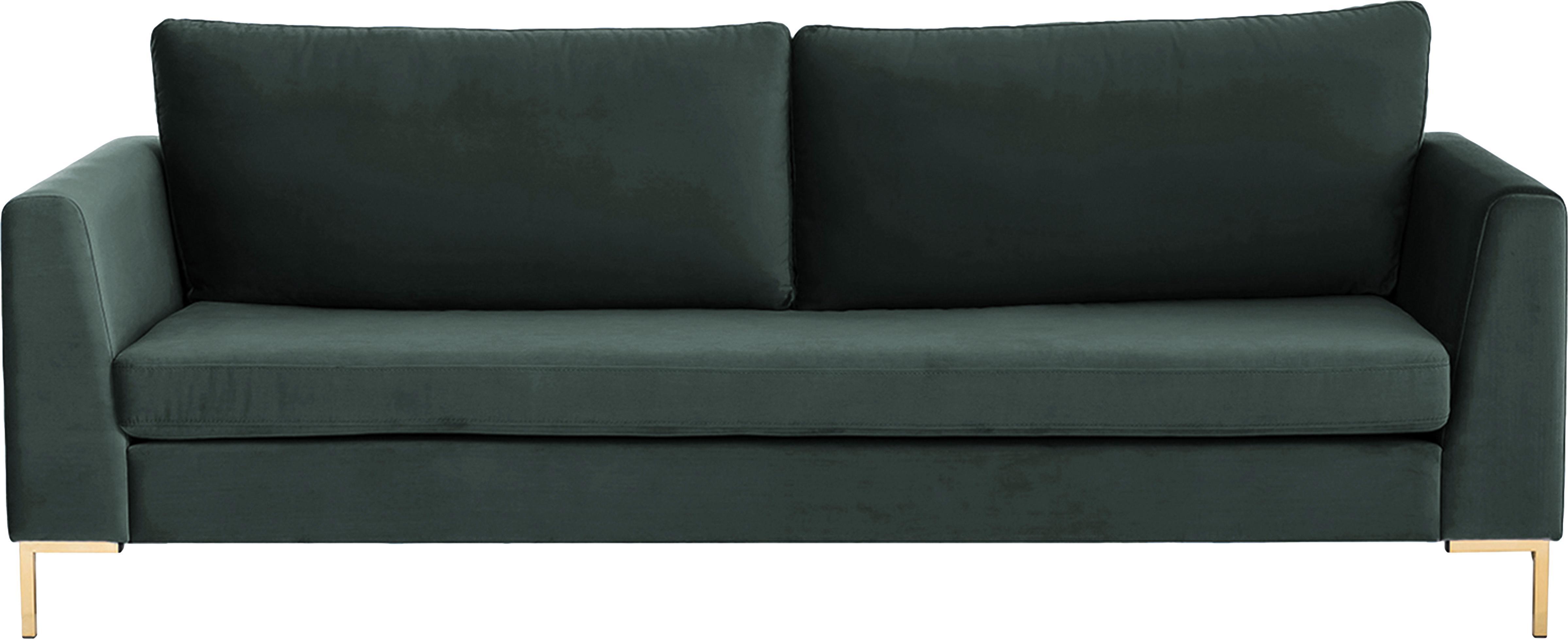 Sofá de terciopelo Luna (3plazas), Tapizado: terciopelo (poliéster) 80, Estructura: madera de haya, Patas: metal galvanizado, Terciopelo verde oscuro, dorado, An 230 x F 95 cm