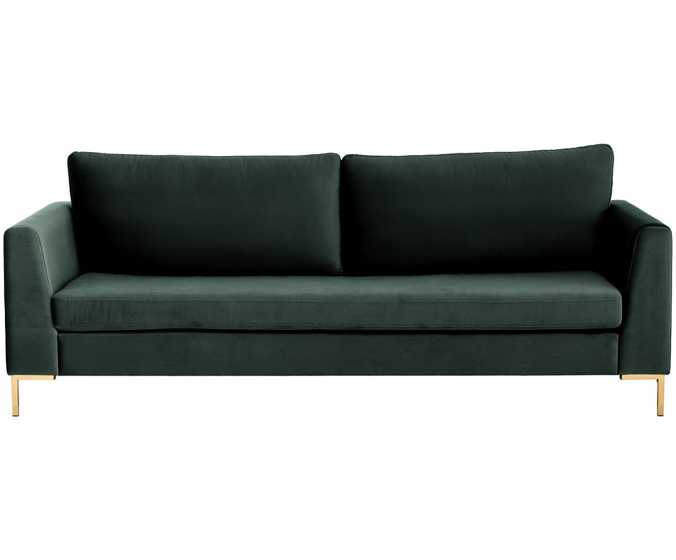 Sofa z aksamitu Luna (3-osobowa), Tapicerka: aksamit (poliester) 8000, Stelaż: lite drewno bukowe, Nogi: metal galwanizowany, Aksamitny ciemny zielony, złoty, S 230 x G 95 cm