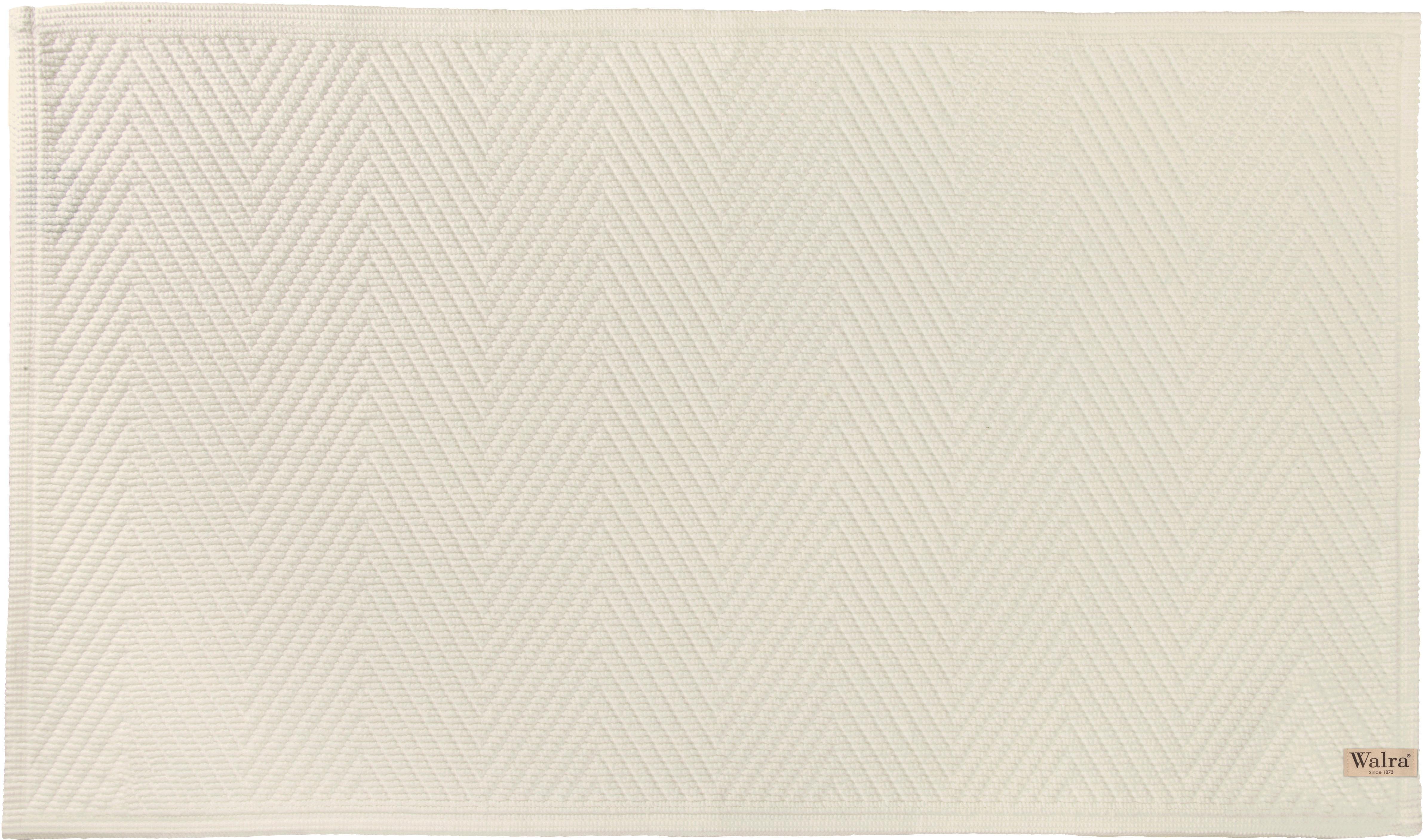 Zachte katoenen badmat met visgraatmotief., Katoen, Steengrijs, 60 x 100 cm