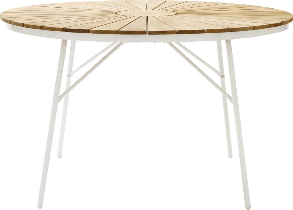 Mesa redonda de jardín de madera Hard & Ellen, Tablero: teca, lijada, Estructura: aluminio con pintura en p, Teca, blanco, Ø 110 x Al 73 cm