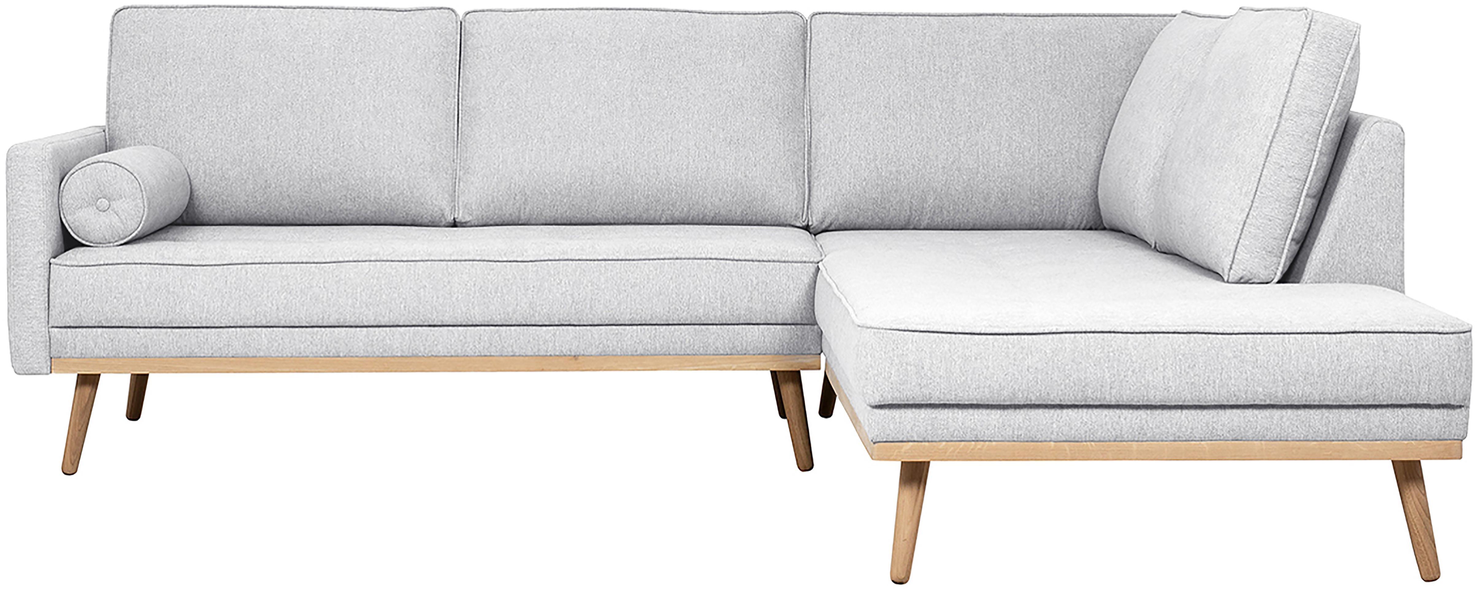 Ecksofa Saint (3-Sitzer), Bezug: Polyester 50.000 Scheuert, Gestell: Massives Kiefernholz, Spa, Webstoff Hellgrau, 243 x 70 cm