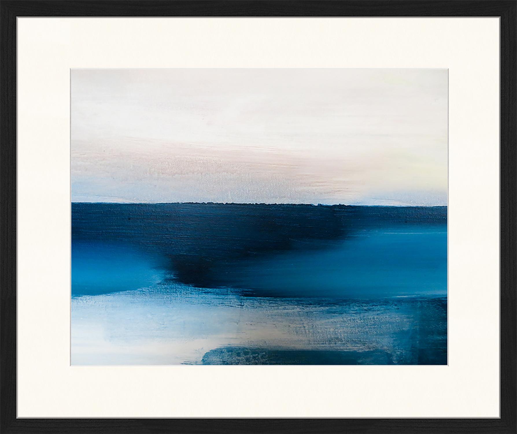 Ingelijste digitale print Blue And Grey Abstract Art, Afbeelding: digitale print op papier,, Lijst: gelakt hout, Multicolour, 63 x 53 cm