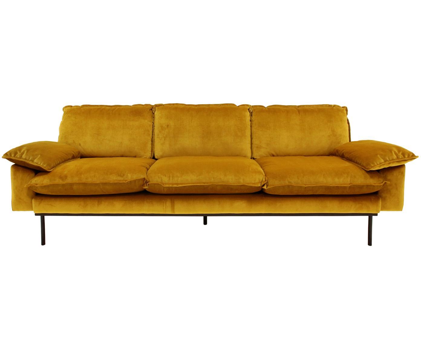 Samt-Sofa Retro (4-Sitzer), Bezug: Polyestersamt 86.000 Sche, Korpus: Mitteldichte Holzfaserpla, Samt Ocker, B 245 x T 83 cm