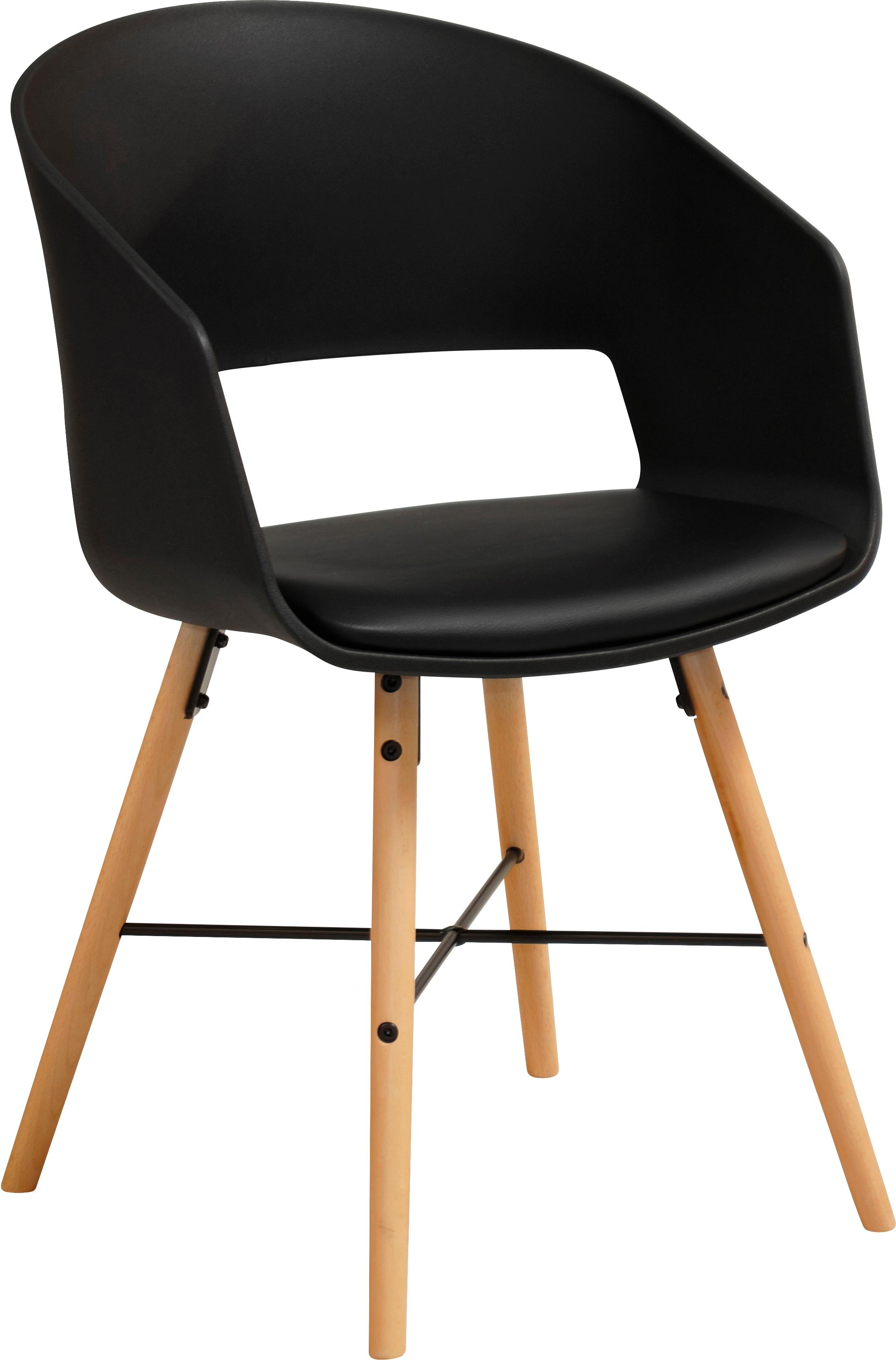 Sedia con braccioli Luna 2 pz, Gambe: legno di faggio verniciat, Nero, Larg. 52 x Prof. 52 cm