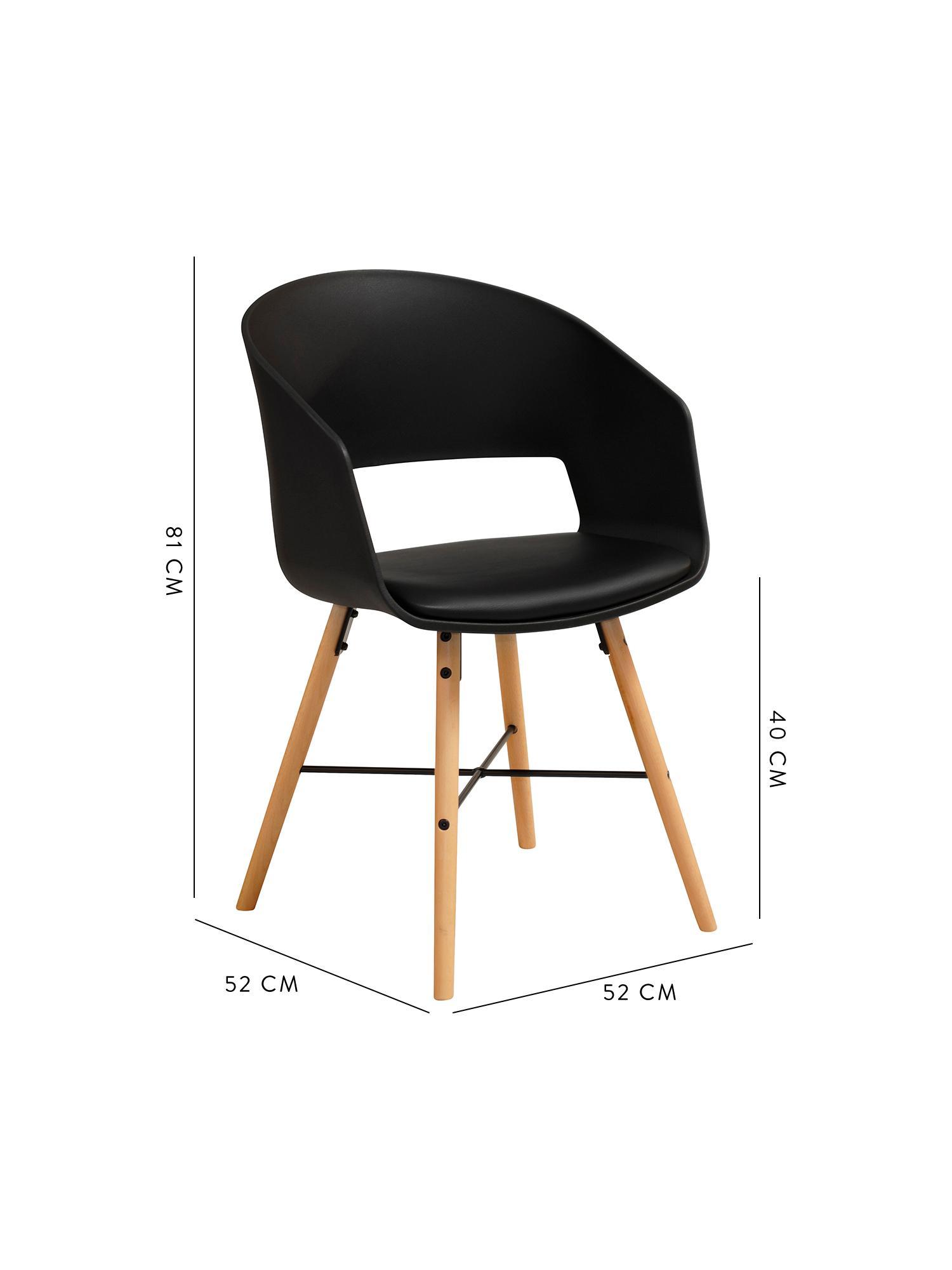 Armlehnstühle Luna mit gepolsteter Sitzfläche, 2 Stück, Beine: Buchenholz, lackiert, Schwarz, B 52 x T 52 cm