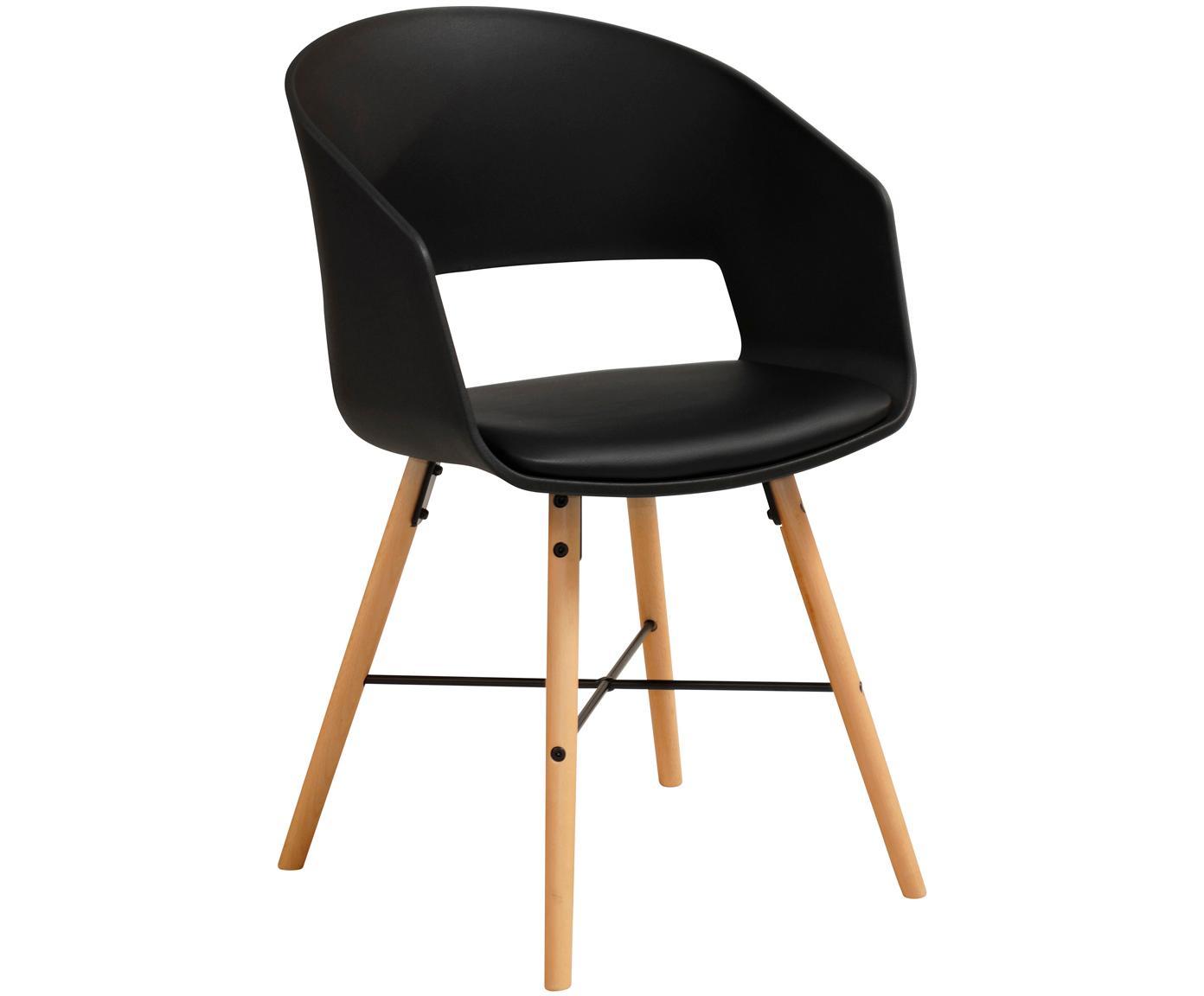 Krzesło z podłokietnikami z tapicerowanym siedziskiem Luna, 2 szt., Nogi: drewno bukowe, lakierowan, Czarny, S 52 x W 81 cm