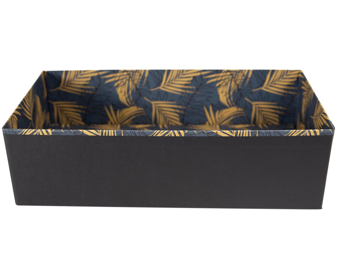 Organizer Drawer, Solido, cartone laminato, Dorato, blu grigio, Larg. 36 x Alt. 10 cm