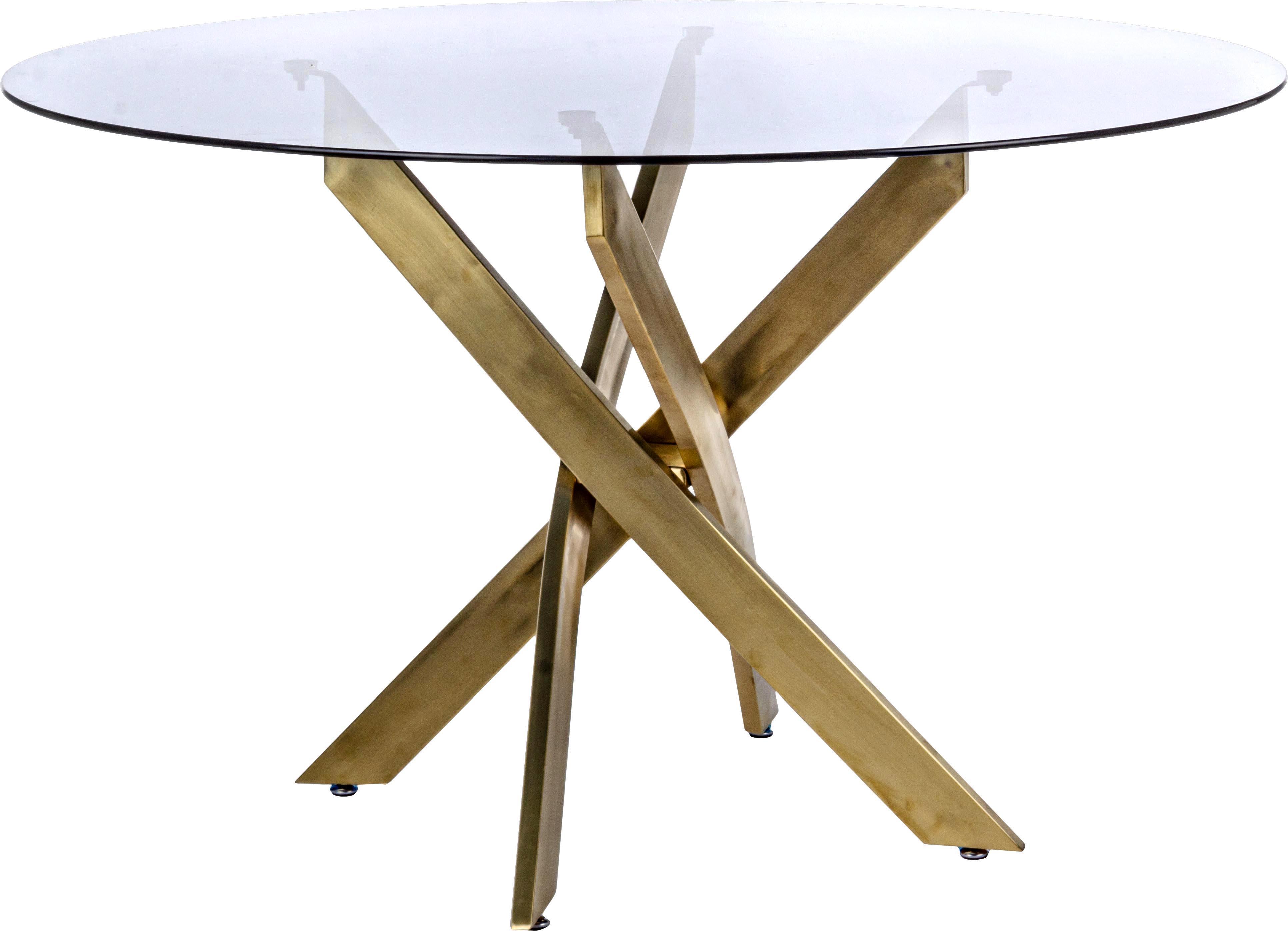Mesa de comedor George, tablero de cristal, Tablero: vidrio tintado, Patas: metal con pintura en polv, Negro, latón, Ø 120 x Al 75 cm