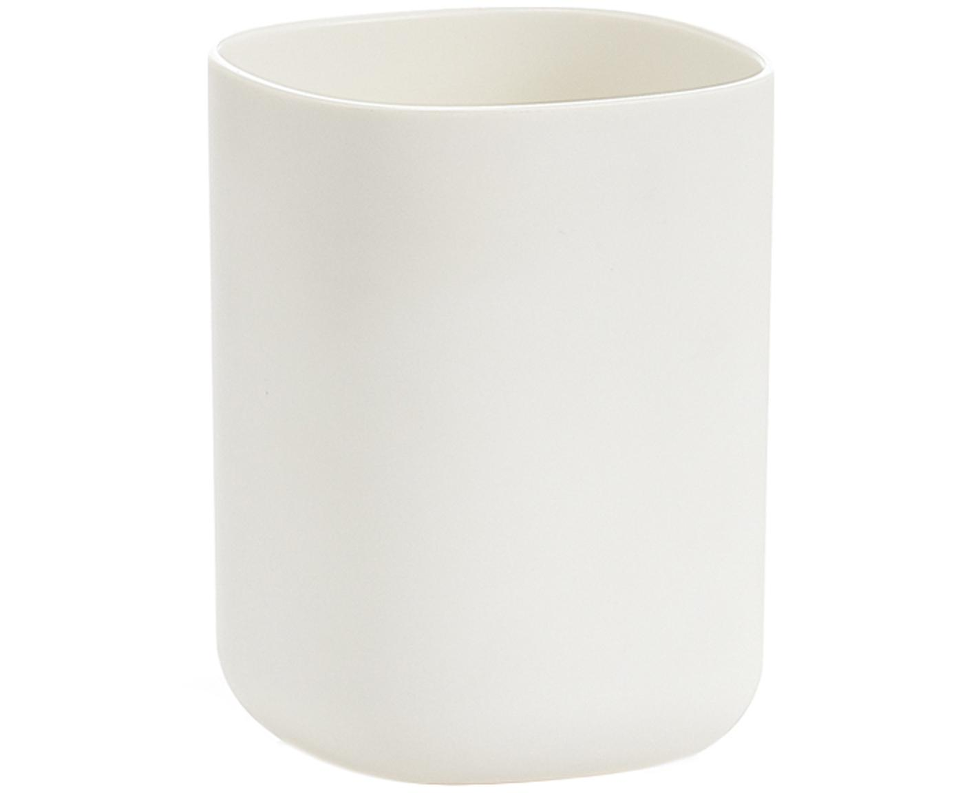 Porta spazzolini Caro, Materiale sintetico, Bianco, Larg. 7 x Alt. 10 cm