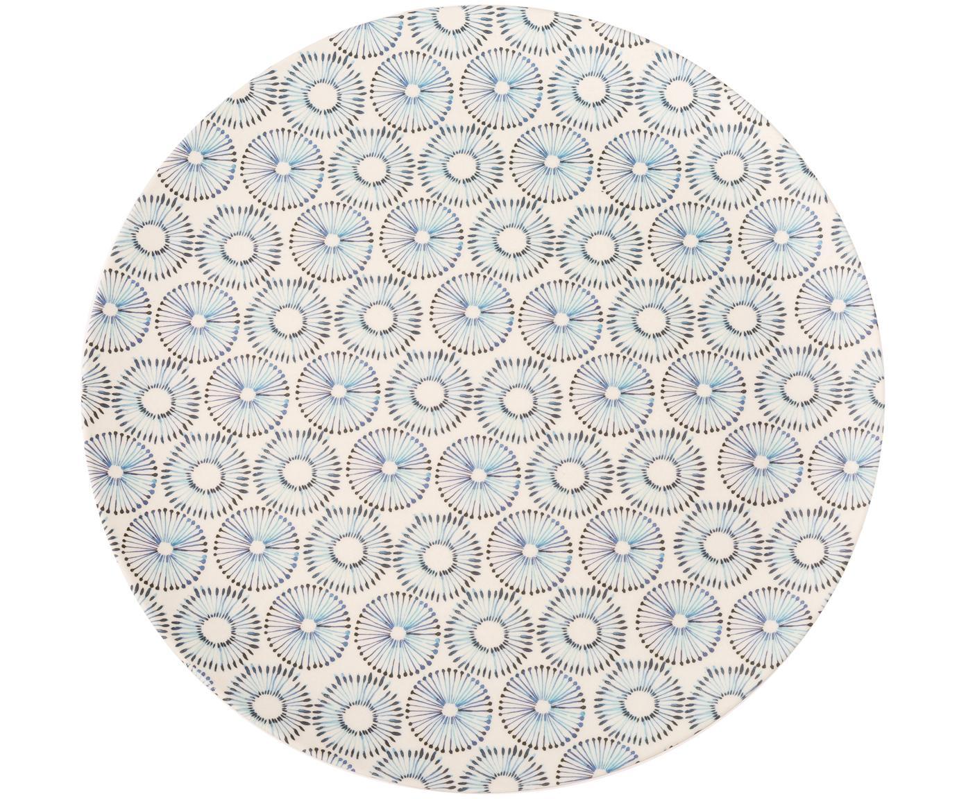 Bamboehouten dinerbord Dandelion, Gelakte bamboevezels, Blauw, wit, Ø 25 x H 2 cm