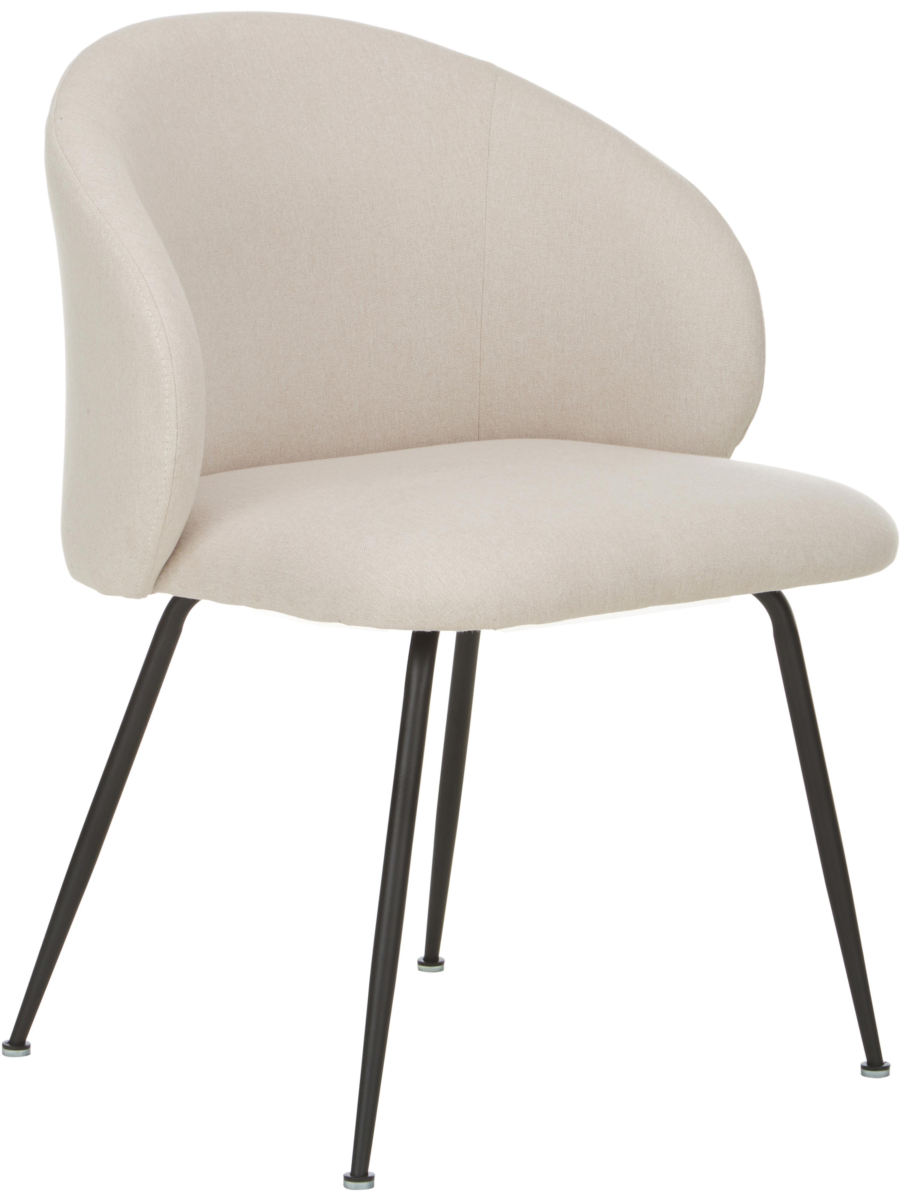 Krzesło tapicerowane Luisa, 2 szt., Nogi: metal malowany proszkowo, Beżowy, czarny, S 61 x G 58 cm