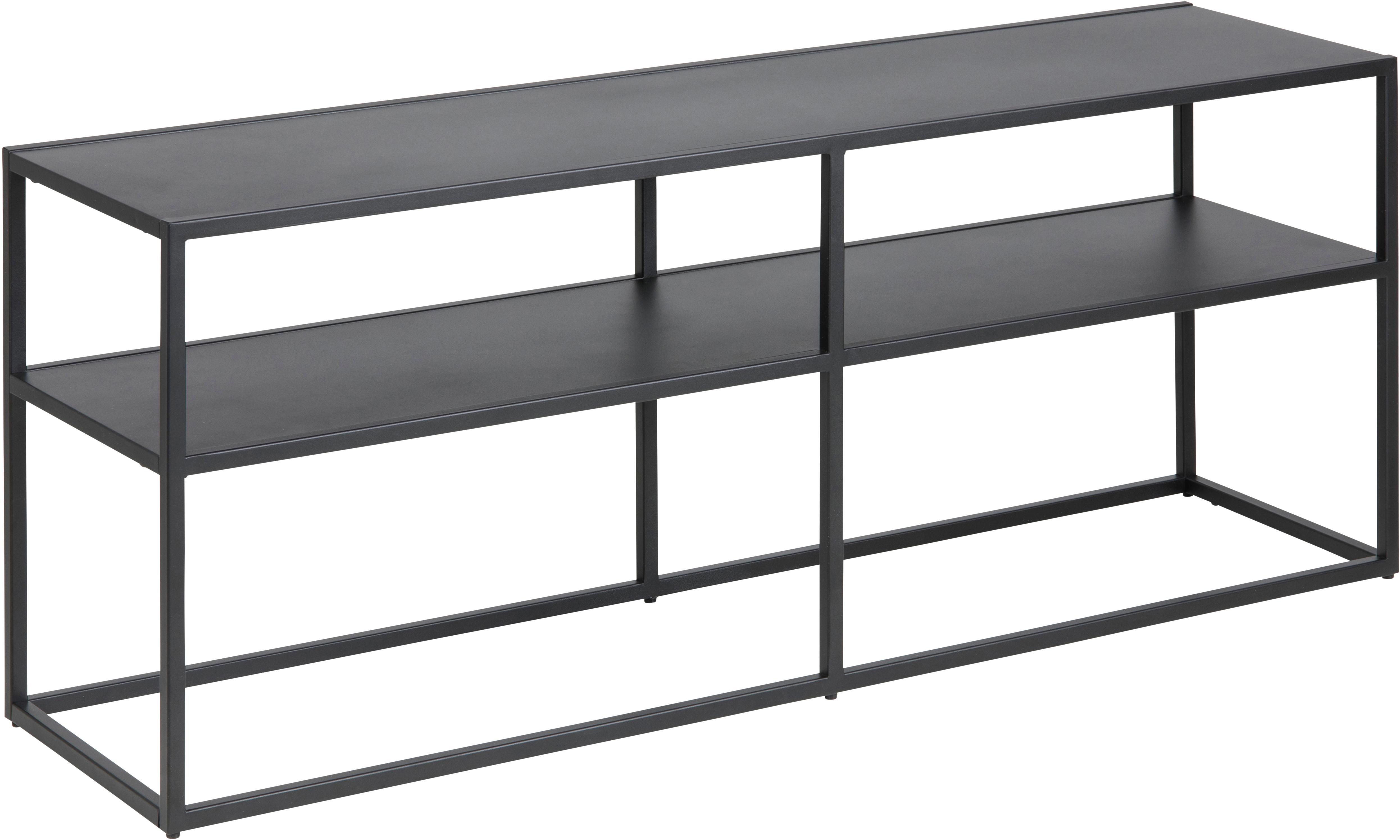 Aparador de metal Newton, Metal con pintura en polvo, Negro, An 120 x Al 46 cm