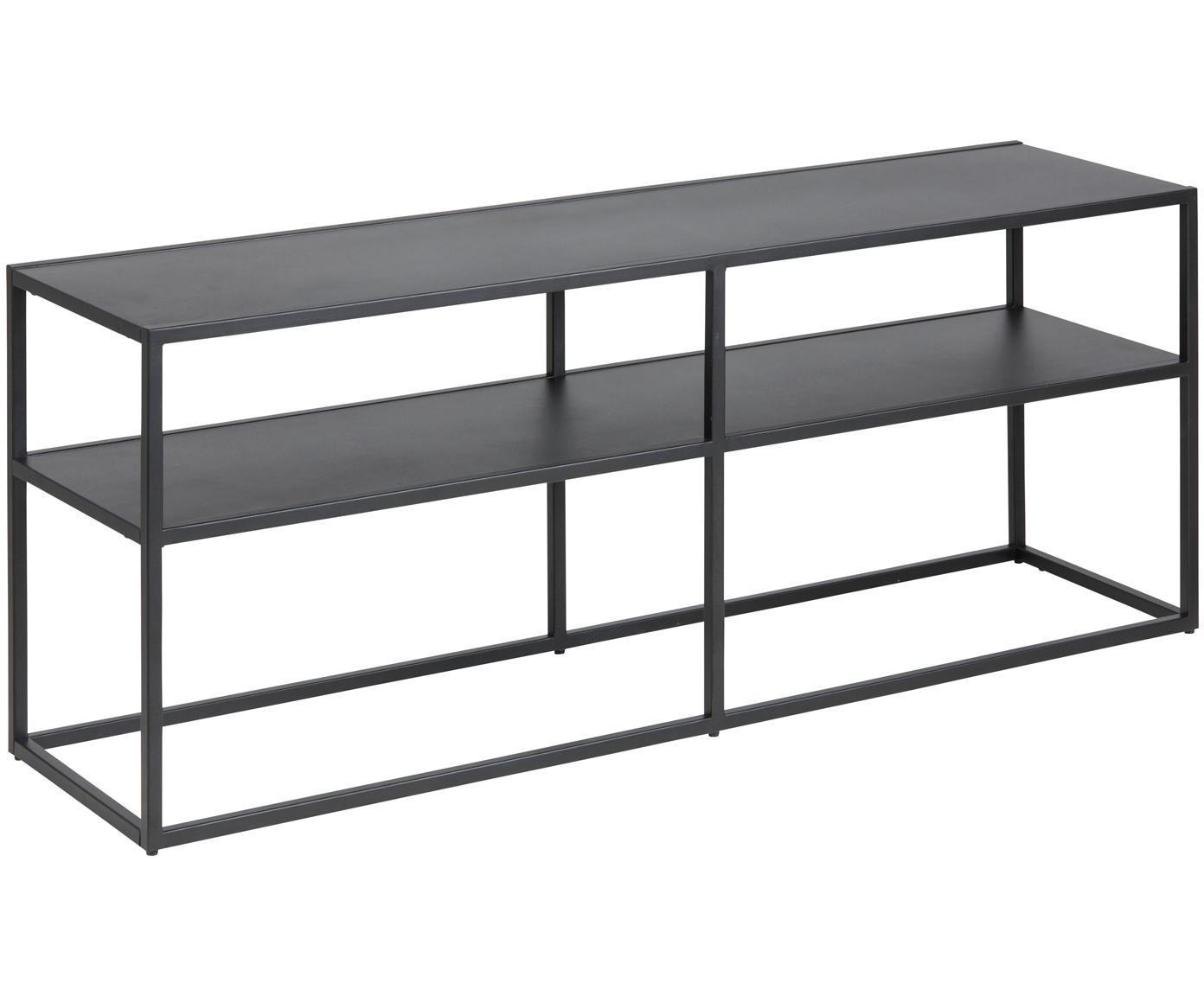 Metall-Lowboard Newton in Schwarz, Metall, pulverbeschichtet, Schwarz, 120 x 46 cm