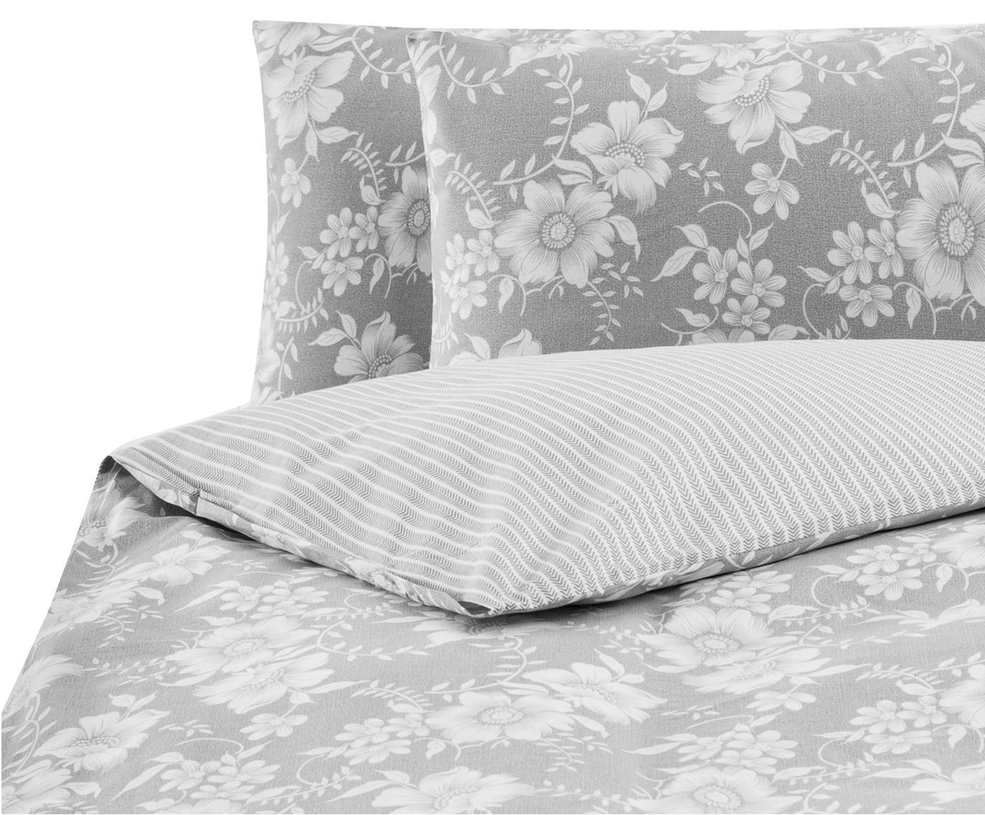 Parure copripiumino in cotone ranforce Grace, Tessuto: Renforcé, Grigio, bianco, 250 x 200 cm