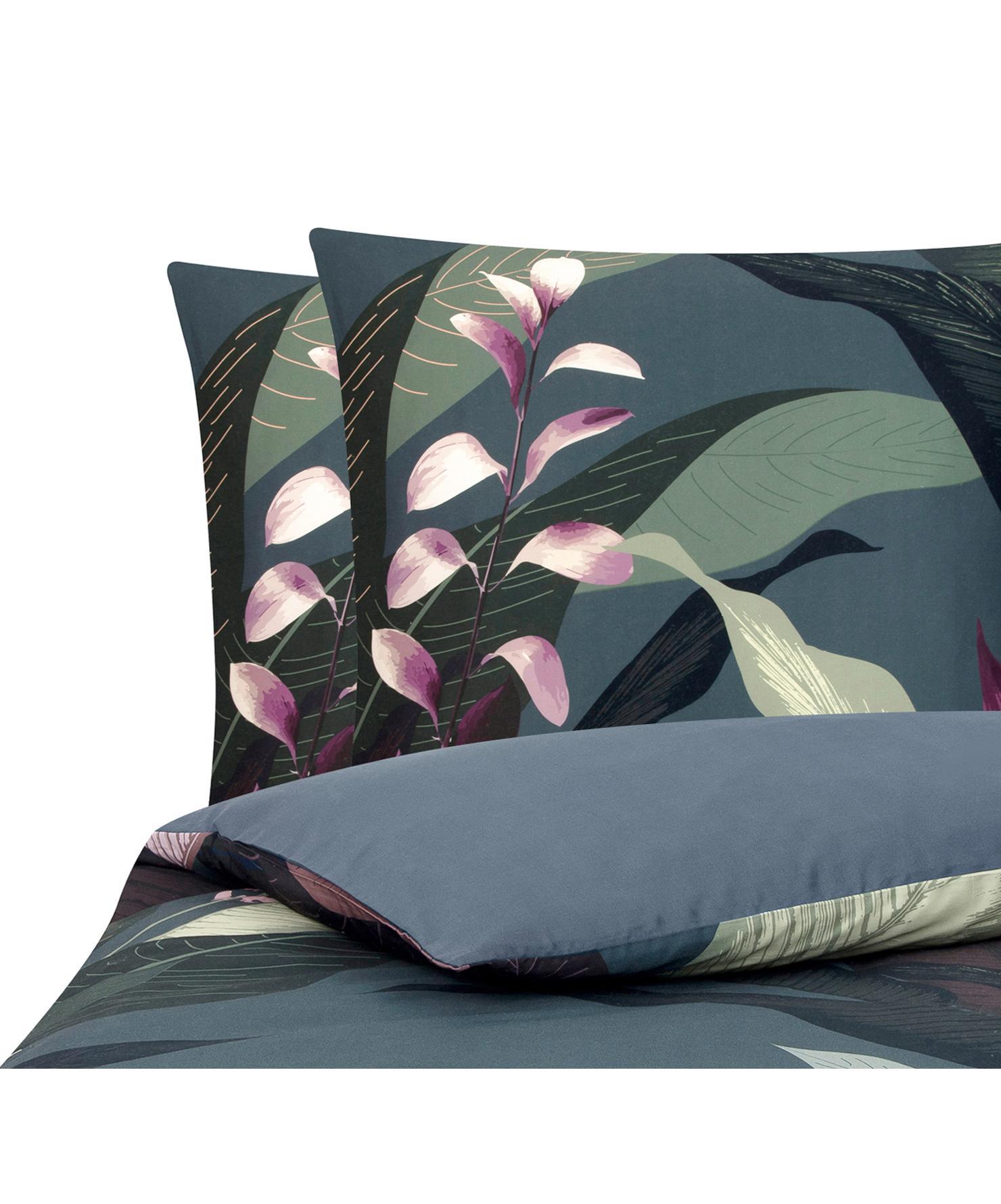 Pościel z satyny bawełnianej Flora, Przód: wielobarwny Tył: ciemny szary, 200 x 200 cm