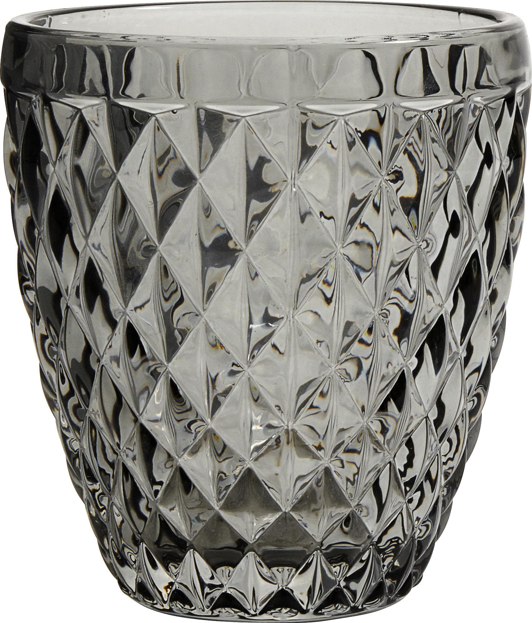 Verres à eau vintage à motifs embossés Diamant, 6pièces, Fumé, translucide