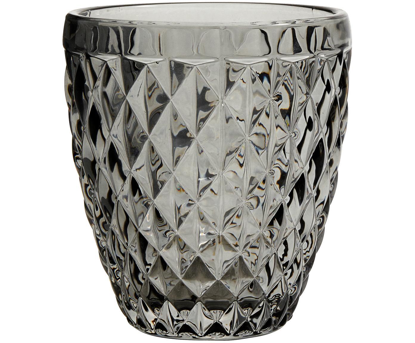 Wassergläser Diamond mit Strukturmuster, 6er-Set, Glas, Rauchgrau, leicht transparent, Ø 9 x H 10 cm