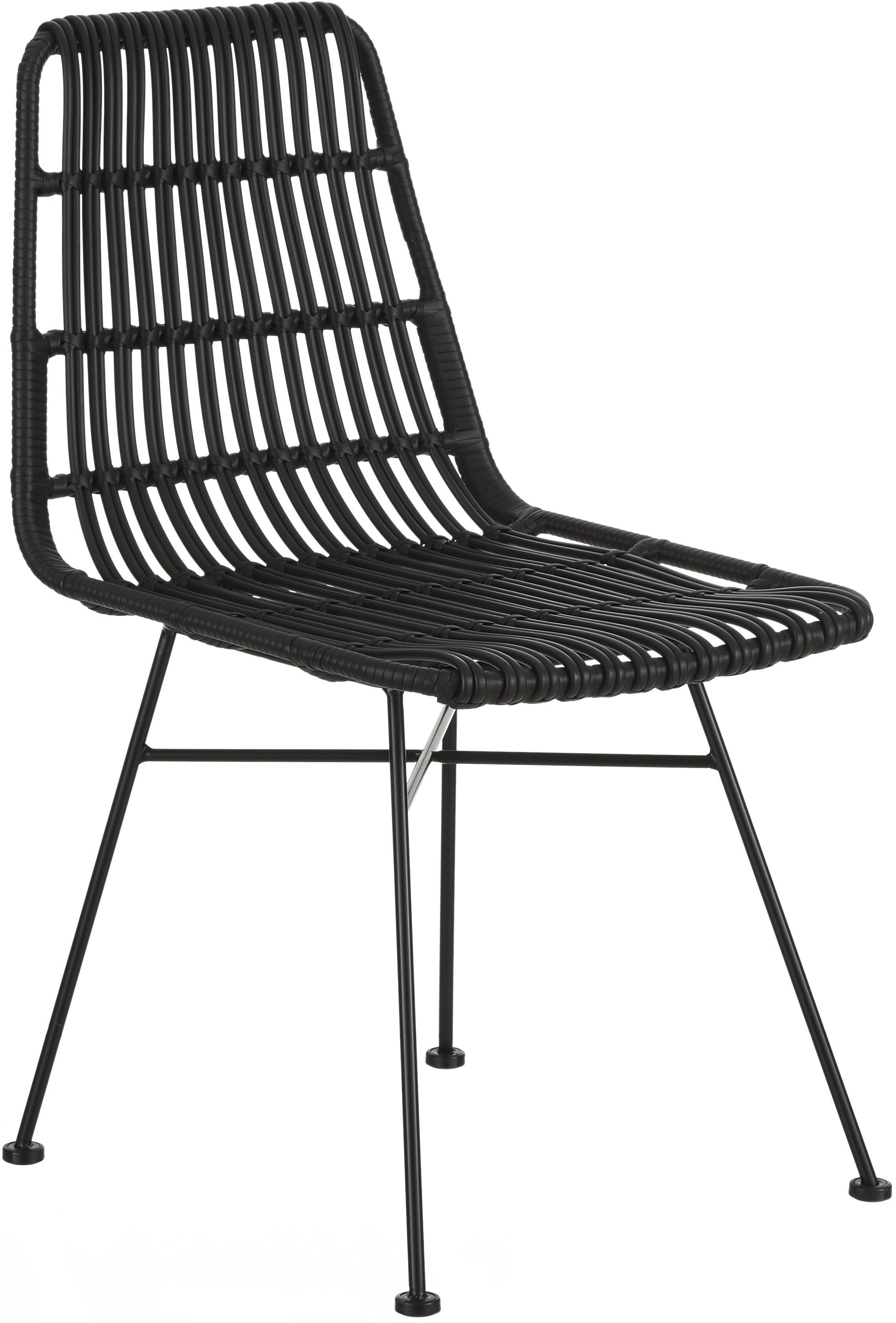 Sedia Costa 2 pz, Seduta: treccia di polietilene, Struttura: metallo verniciato a polv, Nero, Larg. 47 x Prof. 62 cm