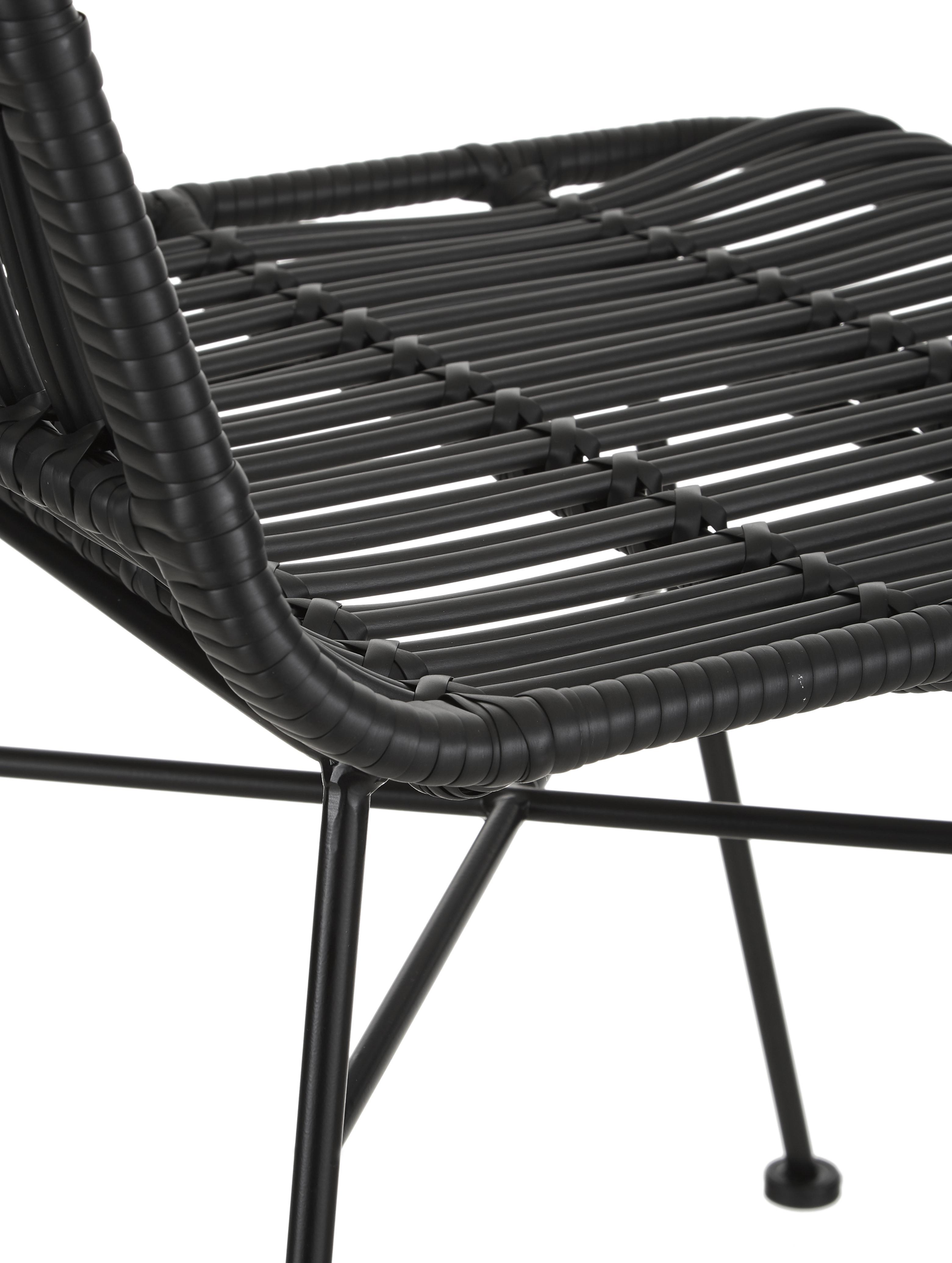 Sillas de poliratán Tulum, 2uds., Asiento: polietileno, Estructura: metal con pintura en polv, Negro, An 47 x F 61 cm