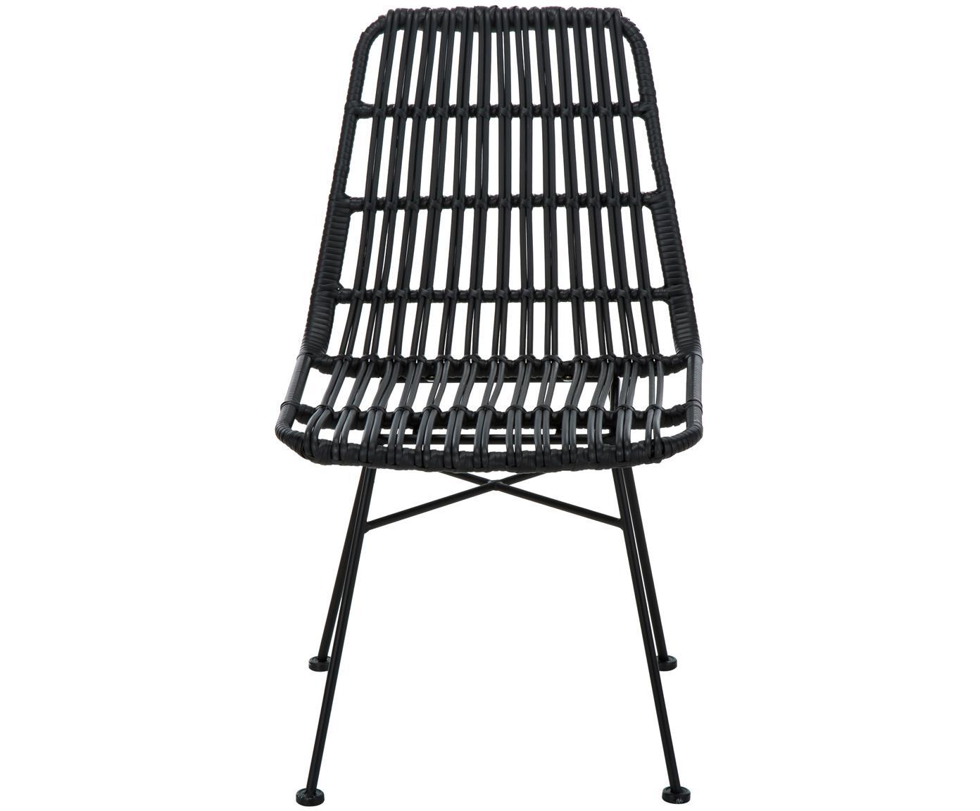 Krzesło z polirattanu Tulum, 2 szt., Stelaż: metal malowany proszkowo, Siedzisko: czarny Stelaż: czarny, matowy, S 47 x G 62 cm