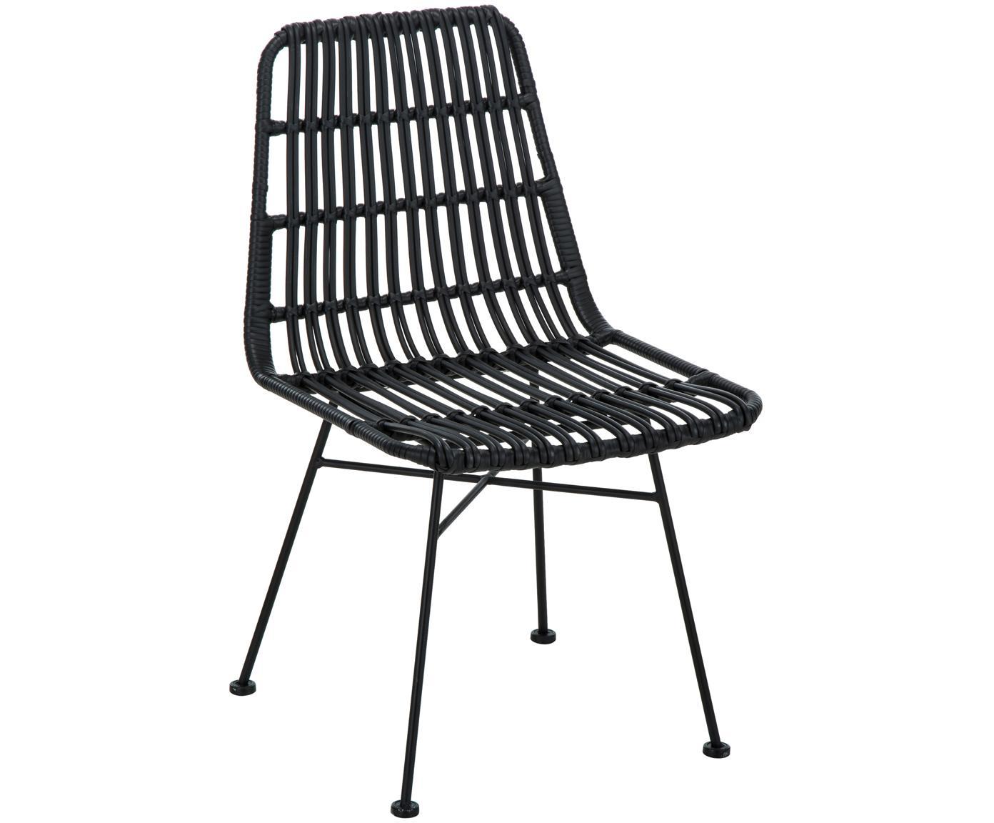 Polyrotan stoelen Costa, 2 stuks, Zitvlak: polyethyleen-vlechtwerk, Frame: gepoedercoat metaal, Zitvlak: zwart. Frame: mat zwart, B 47  x D 62 cm