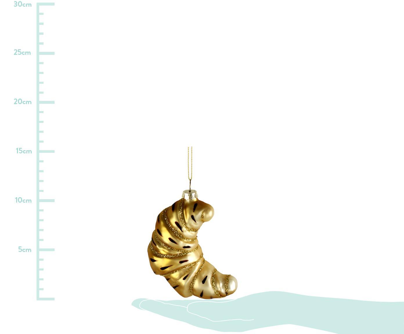 Kerstboomhanger Croissant, Goudkleurig, 6 x 11 cm