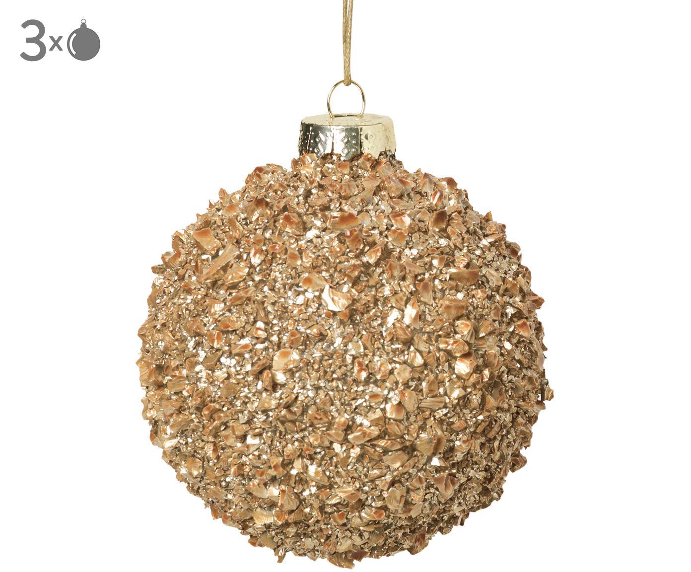 Kerstballen Cinna, 3 stuks, Glas, metaal, Goudkleurig, Ø 8 cm