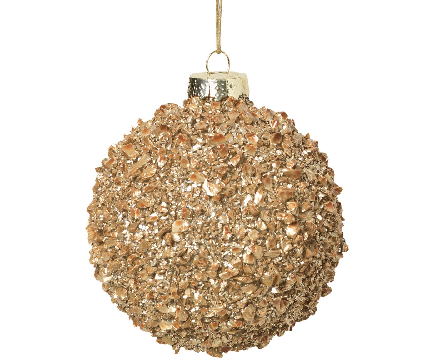 Weihnachtskugeln Cinna Ø8cm, 3Stück, Glas, Metall, Goldfarben, Ø 8 cm