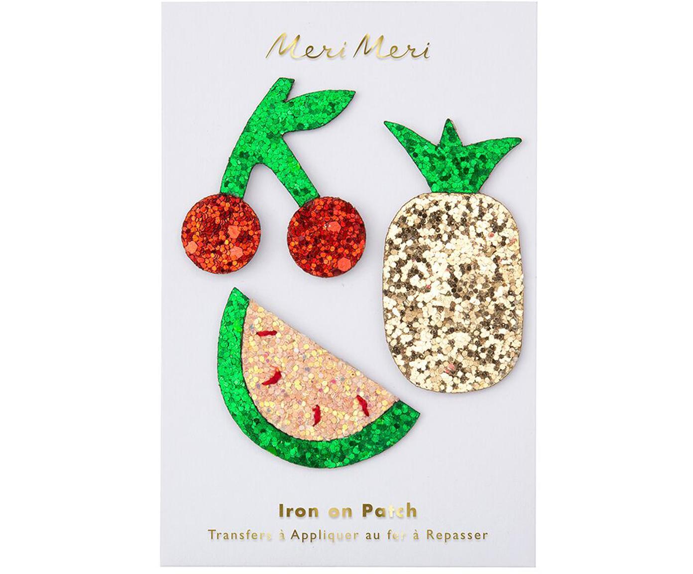 Patchset Fruit, 3-delig, Katoenen canvas, Groen, rood, goudkleurig, glanzend, Verschillende formaten