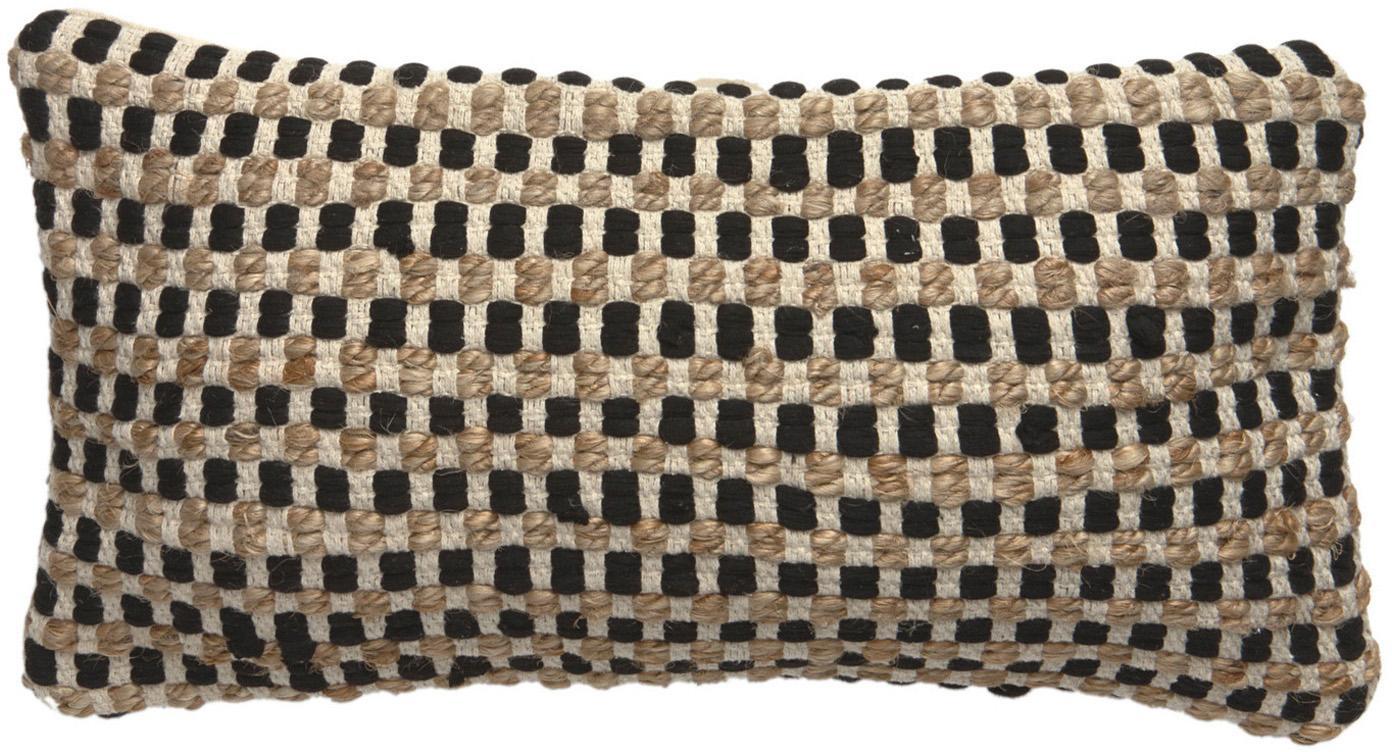 Funda de cojín de algodón y yute Fiesta, Parte delantera: 55%algodón Chindi , 45%, Parte trasera: 100%algodón, Negro, beige, An 30 x L 60 cm