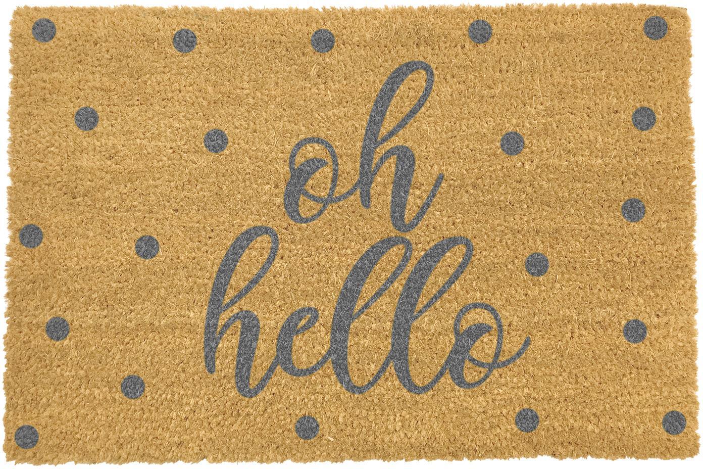 Fussmatte Oh Hello, Oberseite: Kokosfaser, Unterseite: PVC, Beige, Grau, 40 x 60 cm
