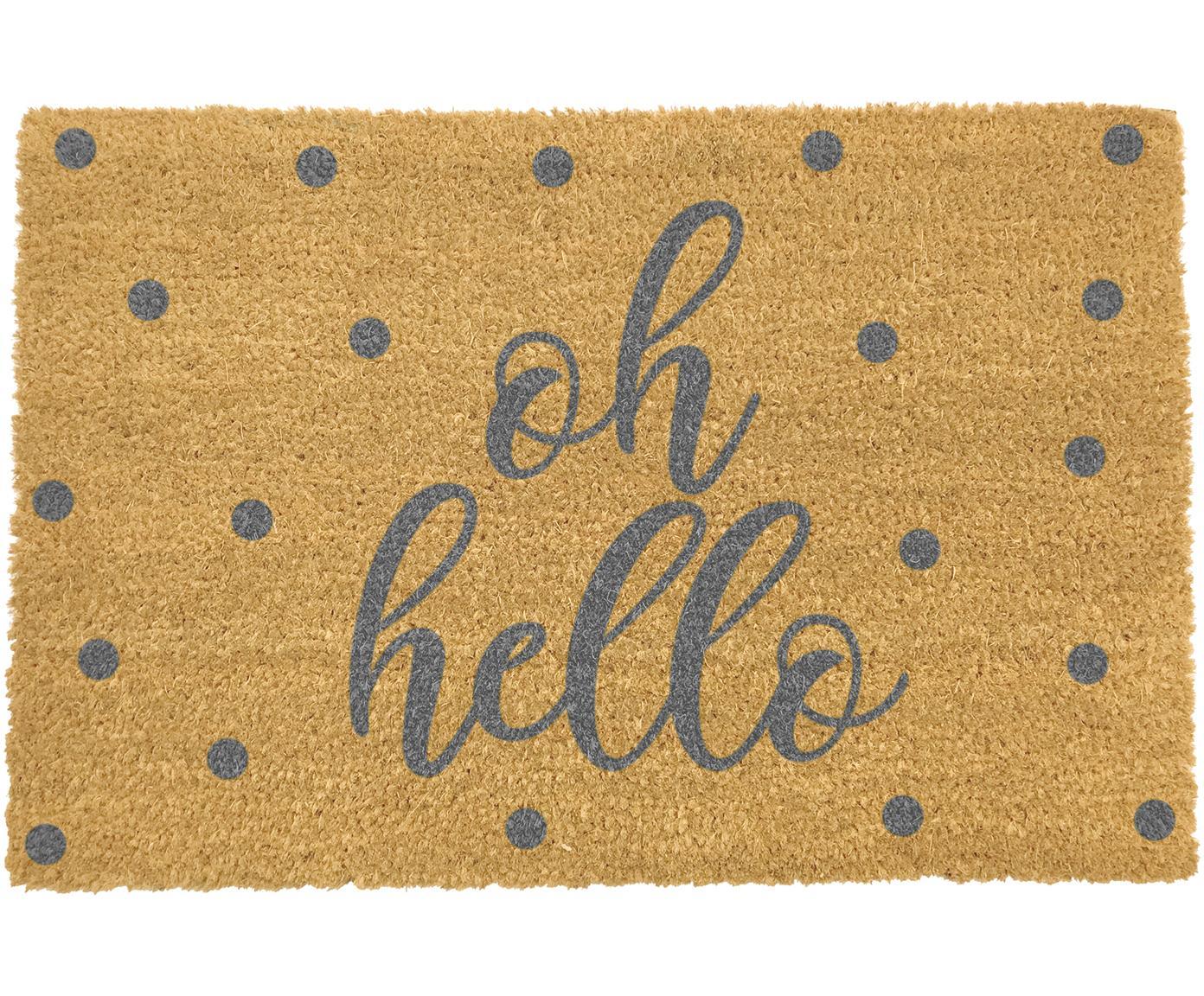 Deurmat Oh Hello, Bovenzijde: kokosvezels, Onderzijde: PVC, Beige, grijs, 40 x 60 cm
