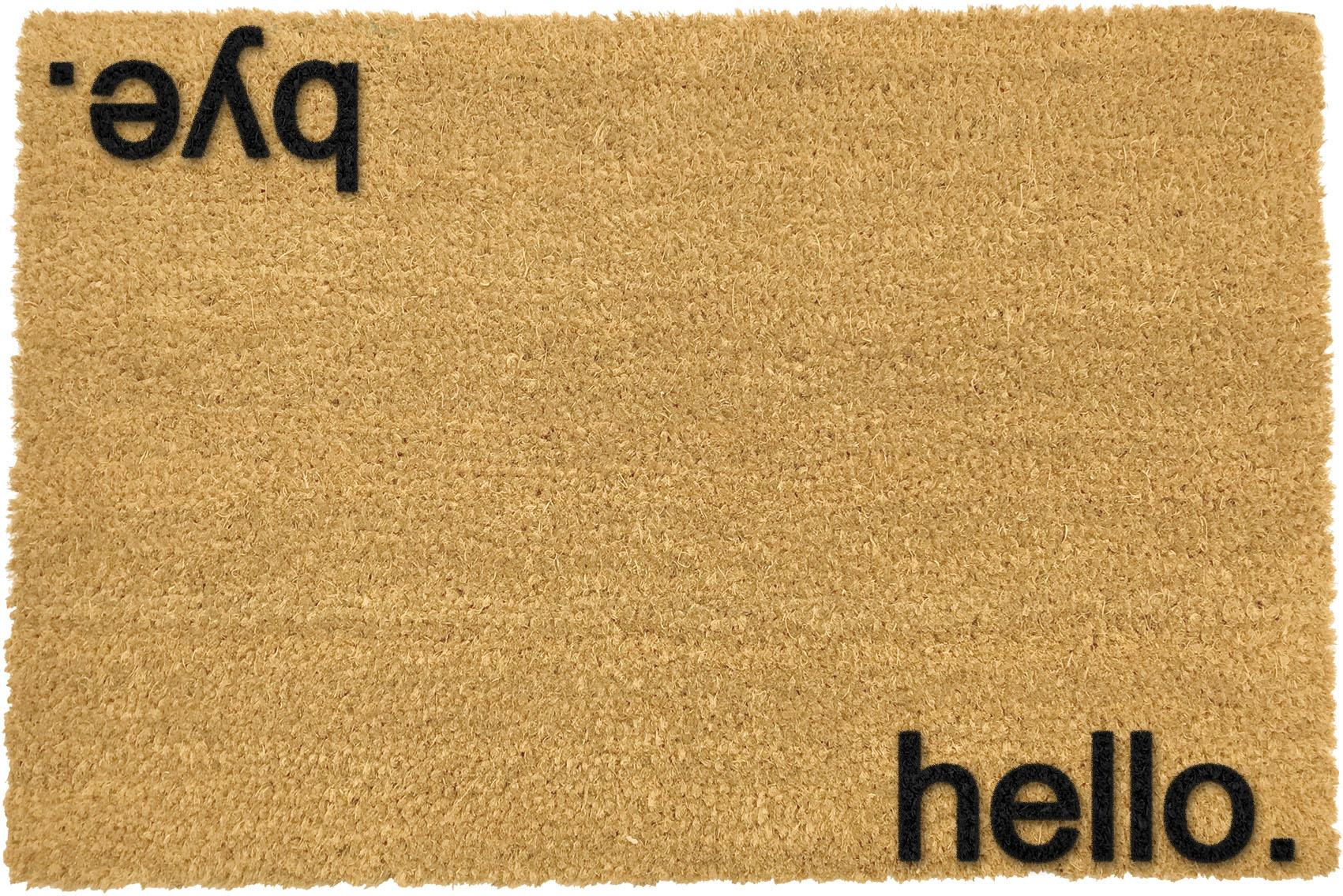 Wycieraczka Hello Bye, Włókno kokosowe, Wycieraczka: beżowy Napis: czarny, S 40 x D 60 cm