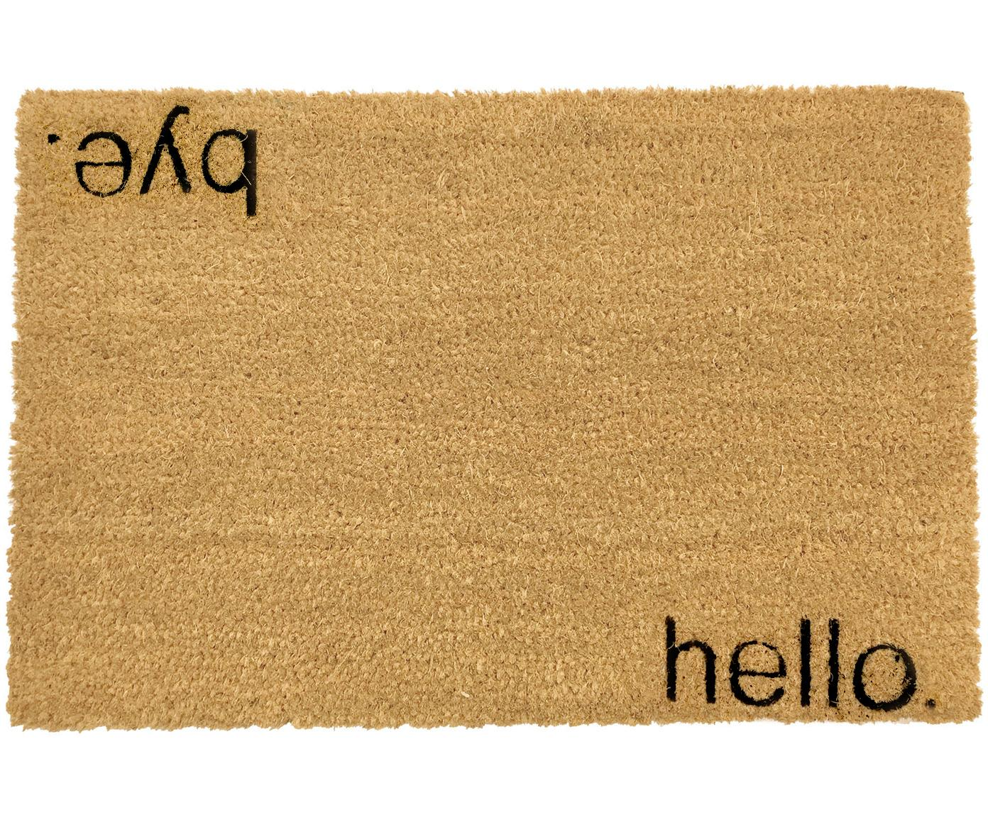 Deurmat Hello Bye, Kokosvezels, Deurmat: beige. Opschrift: zwart, 40 x 60 cm