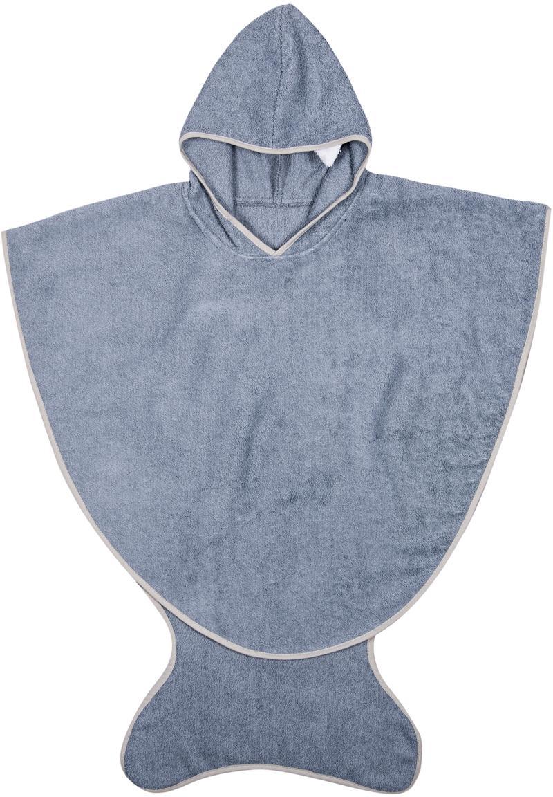 Toalla capa infantil Fish, Algodón, Gris azulado, An 71 x Al 87 cm