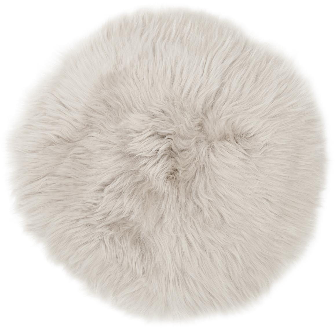 Cojín de asiento de oveja Oslo, Parte delantera: 100%piel de oveja, Parte trasera: 100%cuero cuertido, Beige, Ø 37 cm