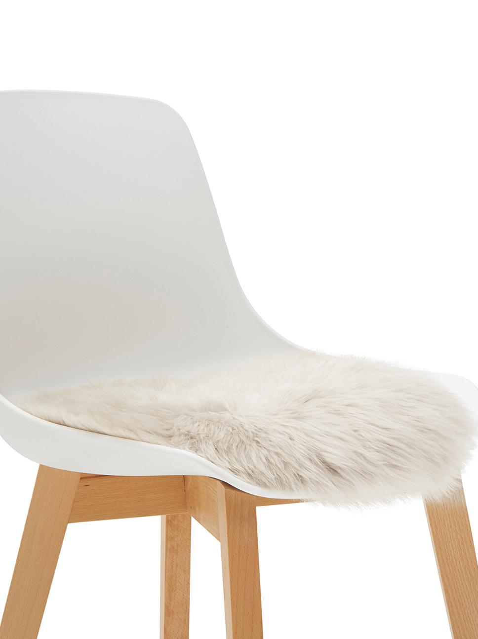 Runde Schaffell-Sitzauflage Oslo, glatt, Flor: 100% Schaffell, Rückseite: 100% Polyester, Beige, Ø 37 cm