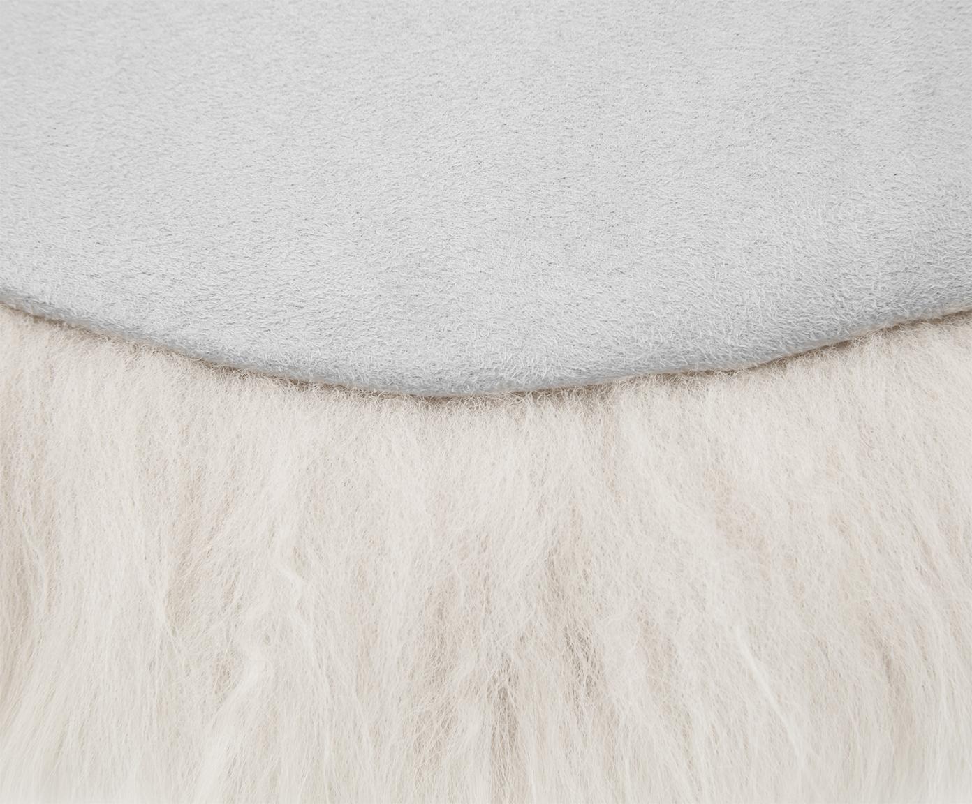 Zitkussen van schapenvacht Oslo, glad, Beige, Ø 37 cm