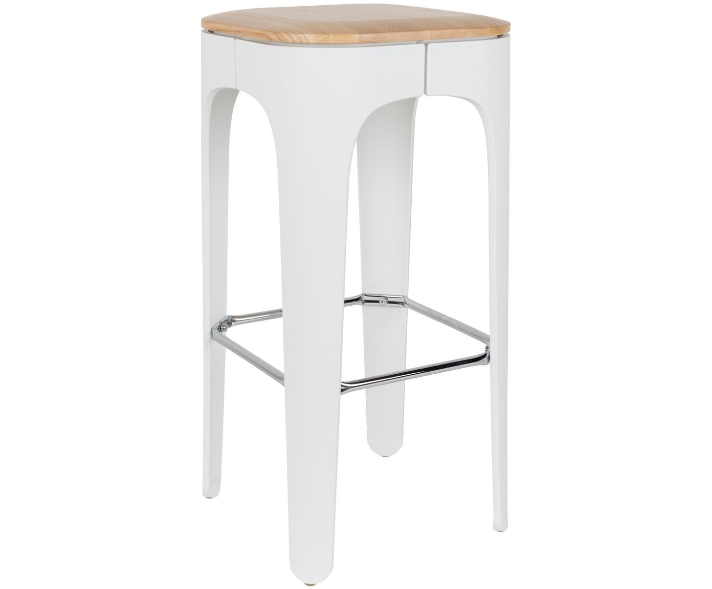 Sgabello da bar Up-High, Seduta: massello di frassino, Gambe: polipropilene, opaco vern, Seduta: legno di frassino >Gambe: bianco >Poggiapiedi: cromato, Larg. 35 x Alt. 73 cm