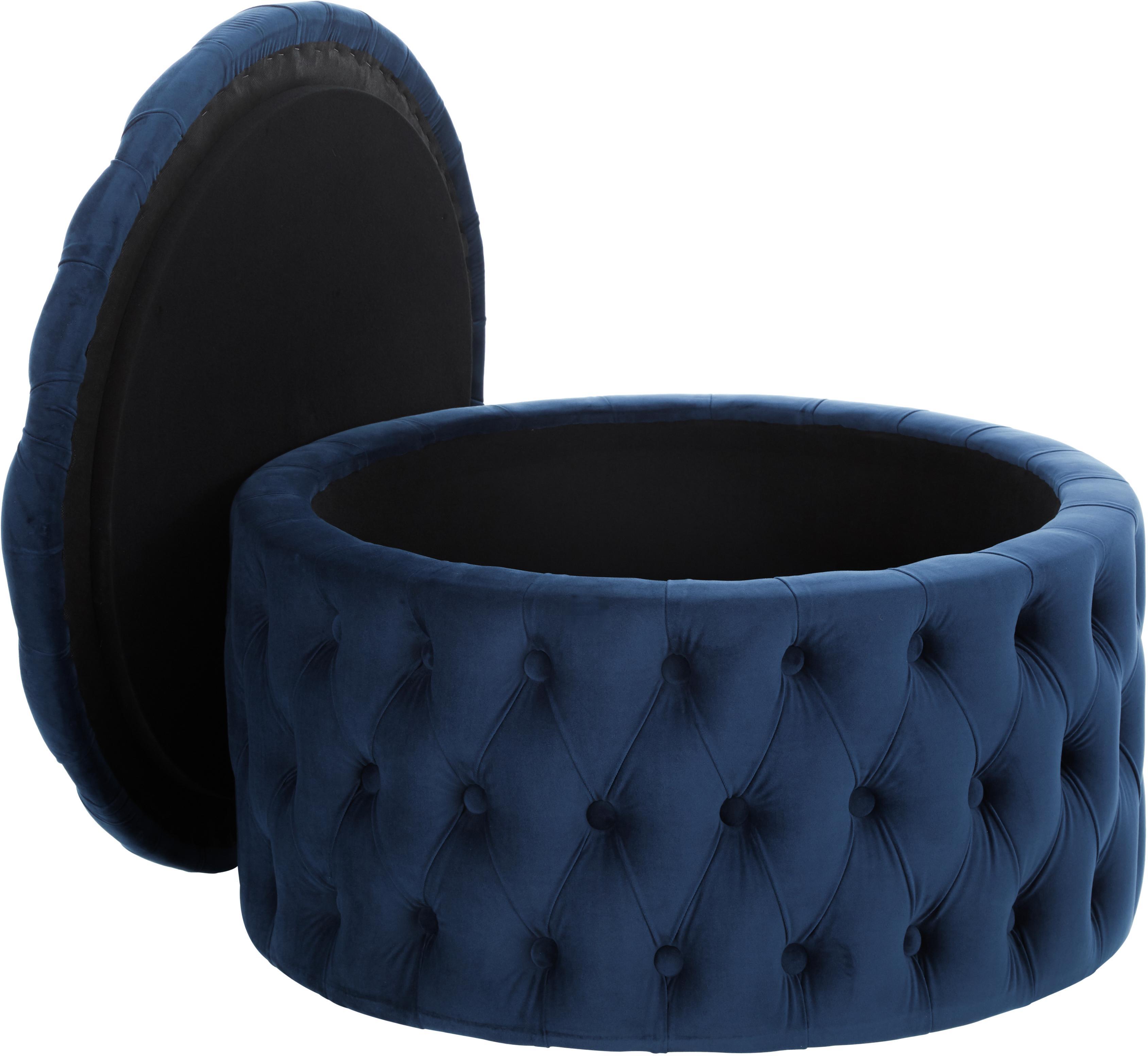 XL Samt-Hocker Chiara mit Stauraum, Bezug: Samt (Polyester) 20.000 S, Korpus: Eukalyptusholz, Blau, ∅ 70 x H 42 cm