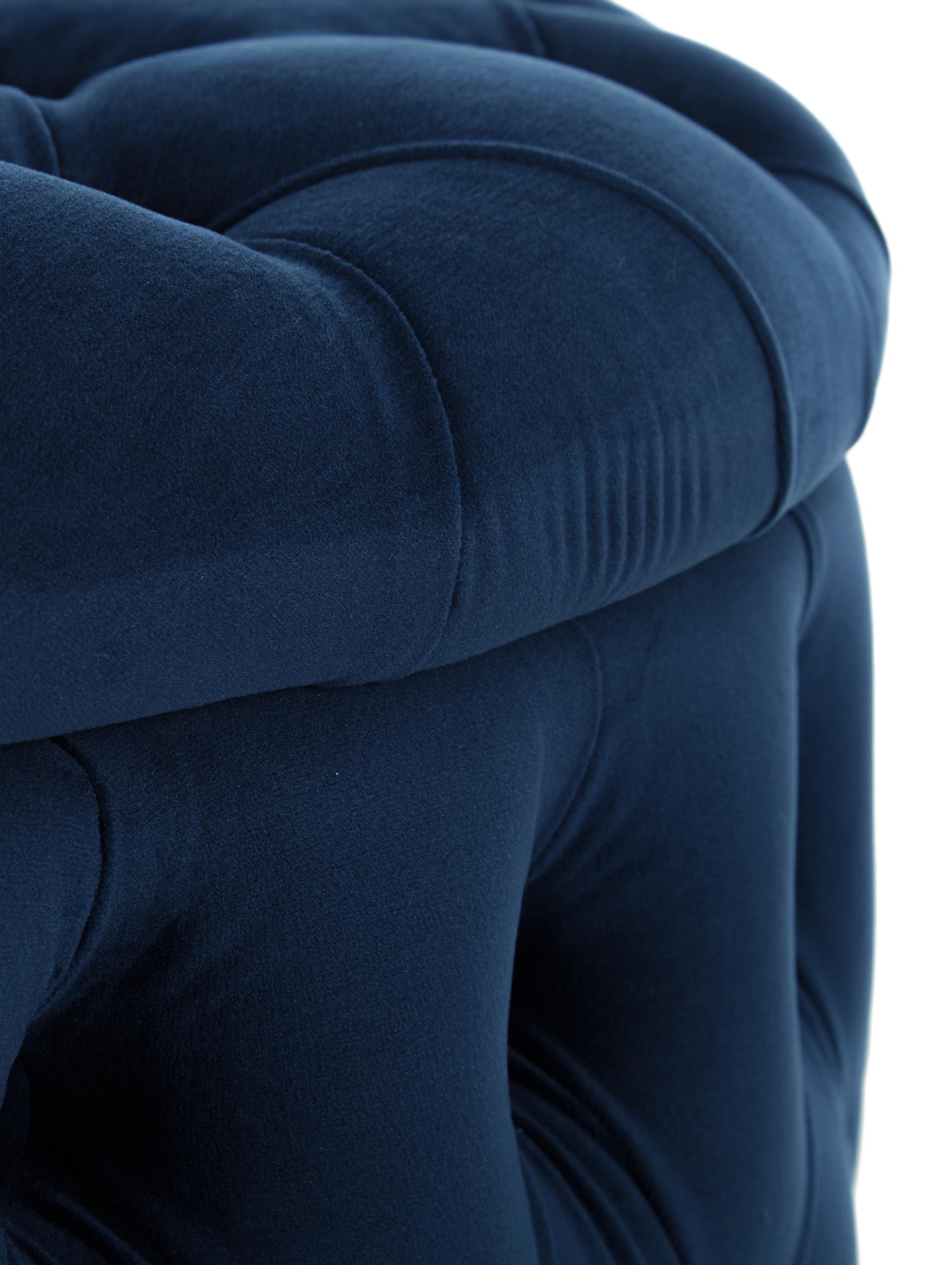 Puf z aksamitu z miejscem do przechowywania XL Chiara, Tapicerka: aksamit (poliester) 20 00, Korpus: drewno eukaliptusowe, Niebieski, ∅ 70 x W 42 cm