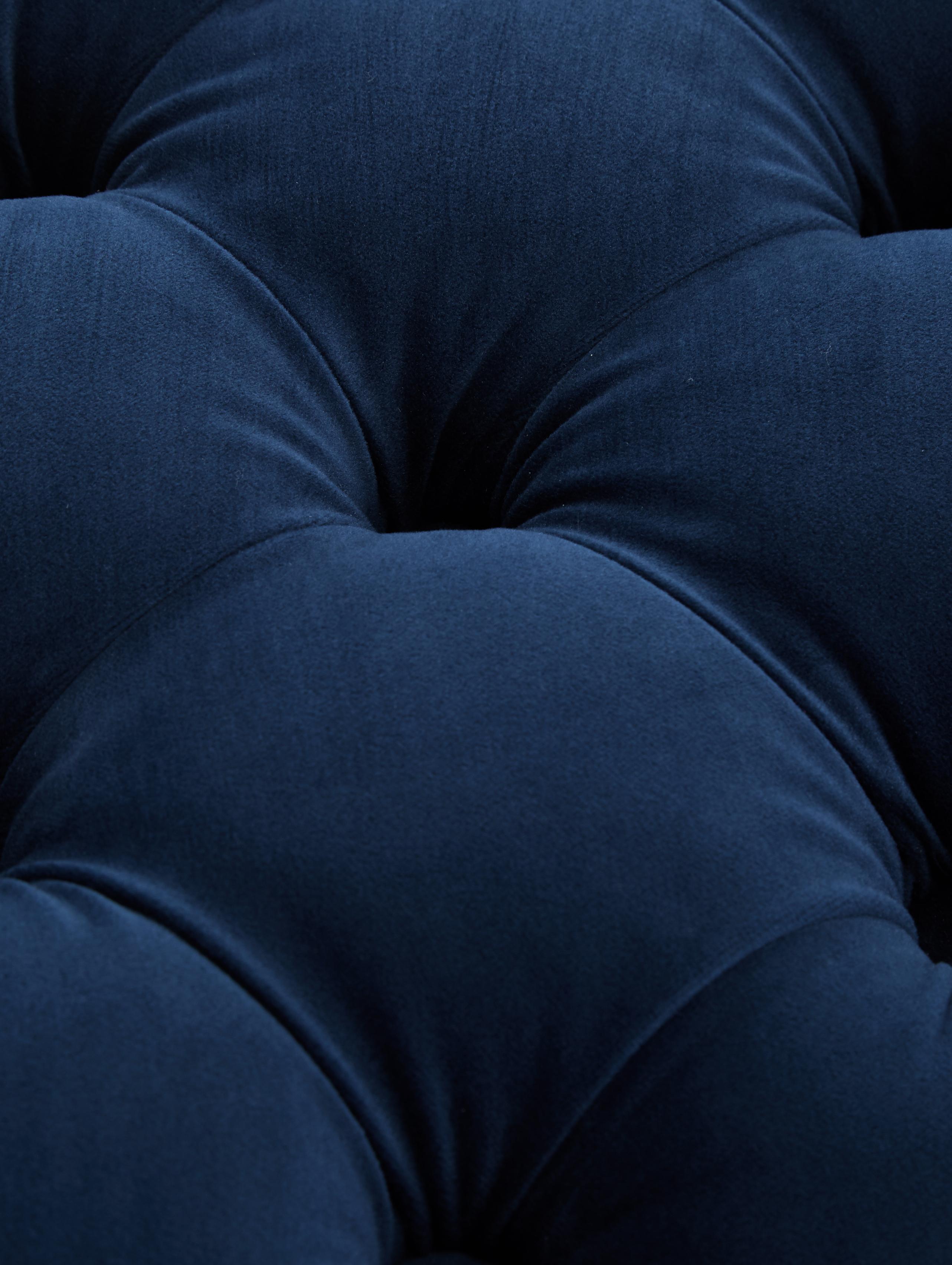 XL fluwelen poef Chiara met opbergruimte, Bekleding: fluweel (polyester), Frame: eucalyptushout, Blauw, Ø 70 x H 42 cm