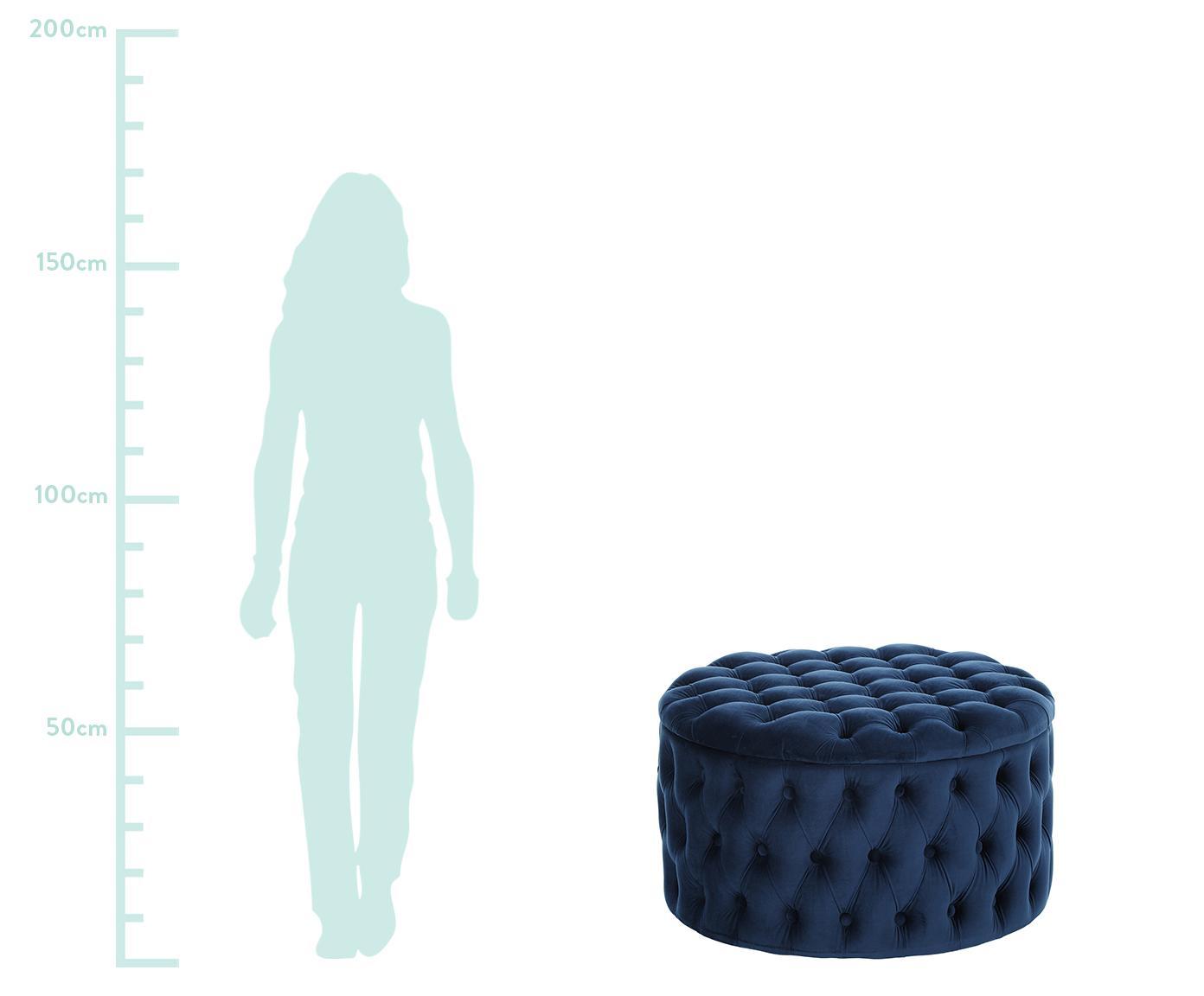 Pouf contenitore in velluto Chiara, Rivestimento: velluto (poliestere) 20.0, Blu, Ø 70 x Alt. 42 cm