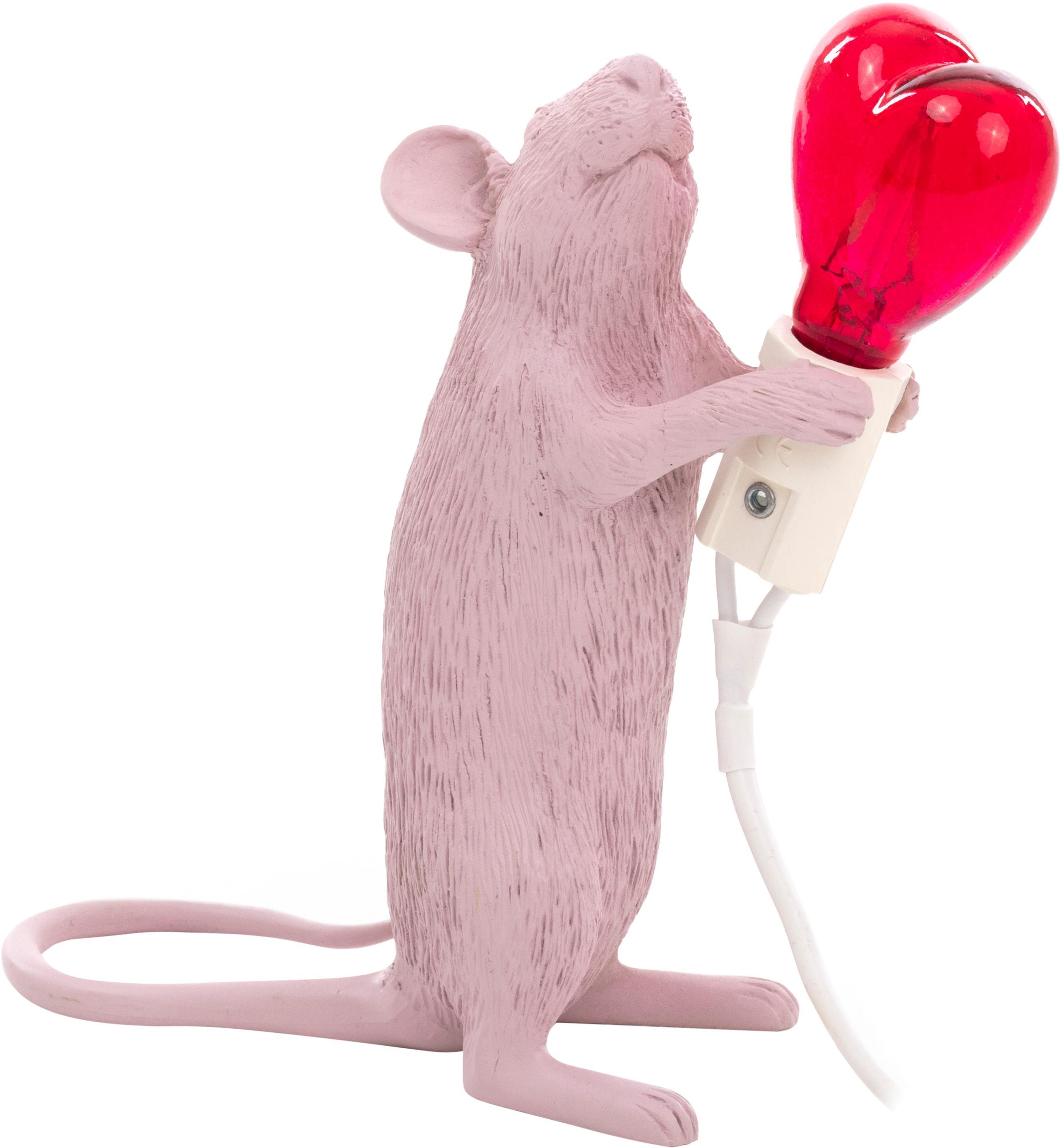 LED tafellamp Mouse Love, Peertje: glas, Roze, rood, 6 x 15 cm