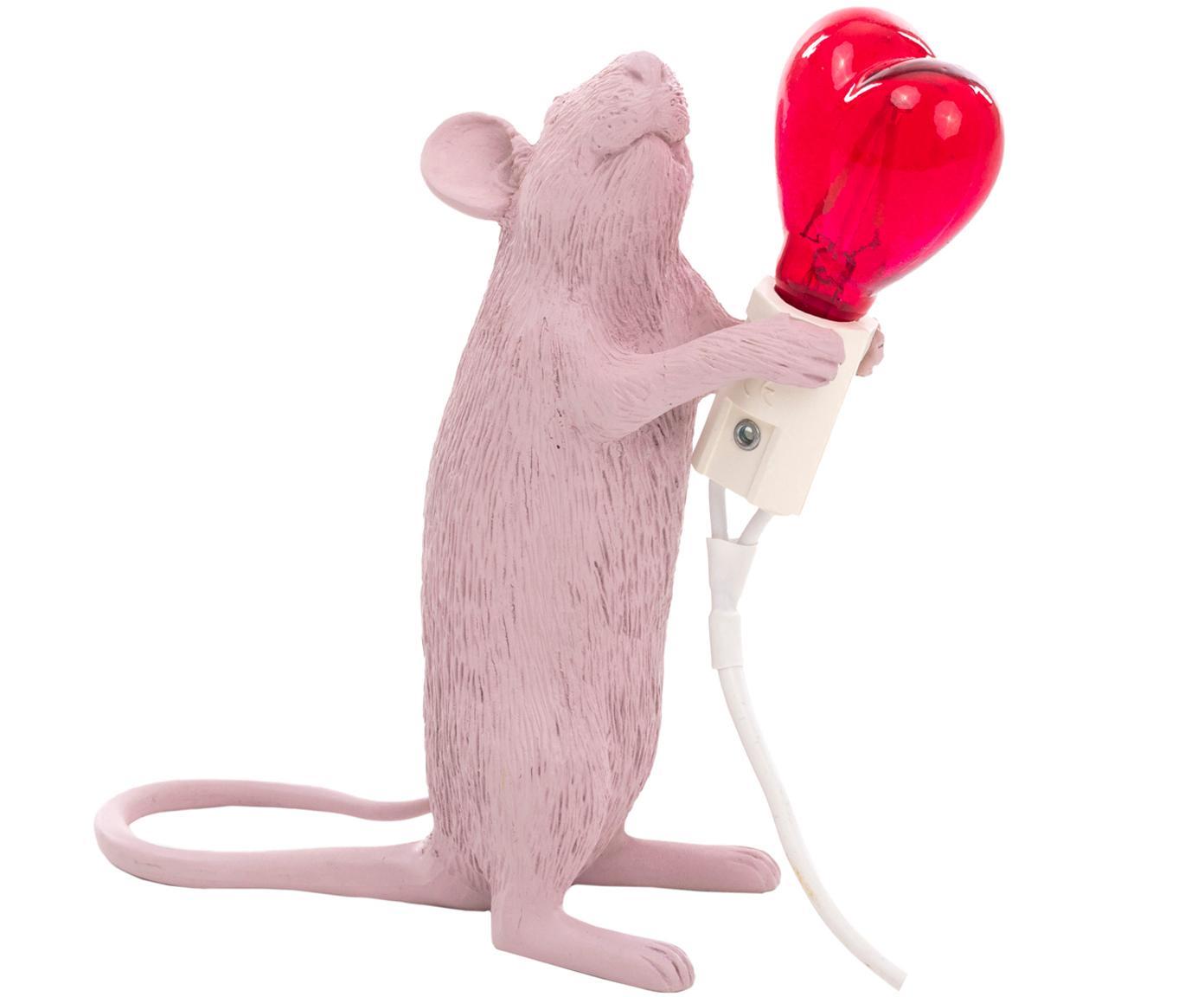 Lampa stołowa Mouse Love, Blady różowy, czerwony, S 6 x W 15 cm