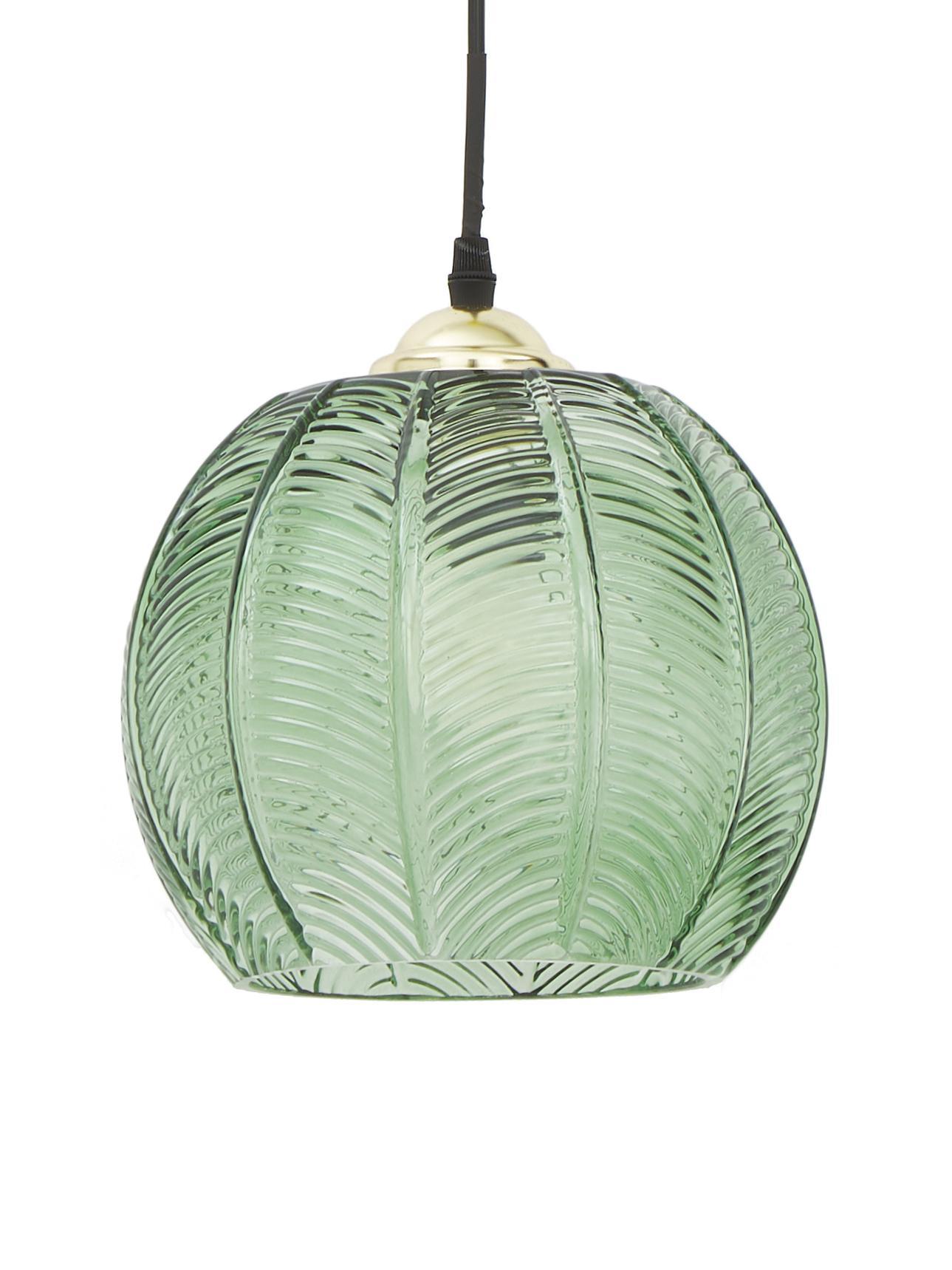 Lámpara de techo pequeña Luisa, Pantalla: vidrio, Anclaje: metal pintado, Cable: plástico, Verde, Ø 22 x Al 20 cm