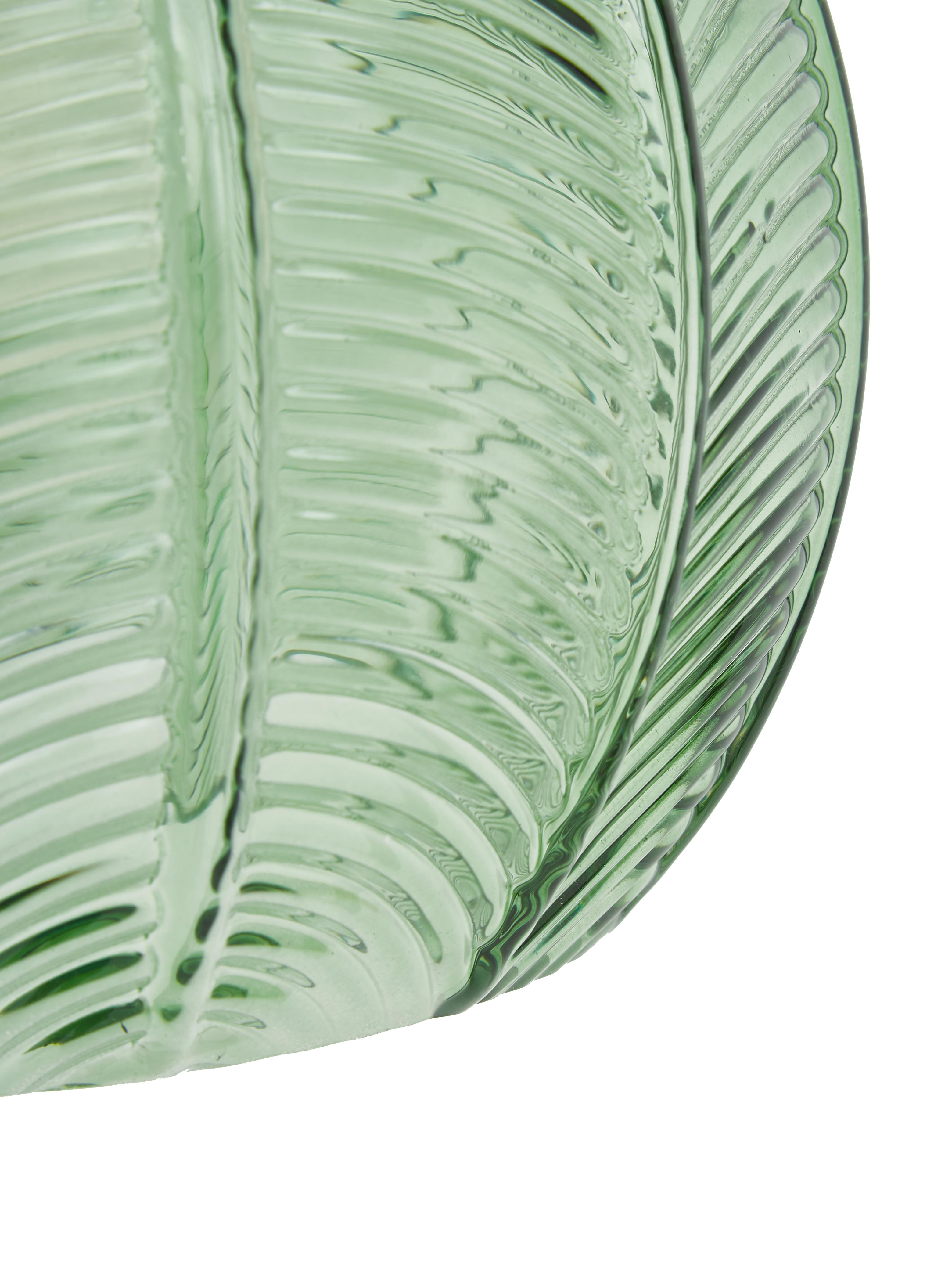 Kleine Pendelleuchte Luisa aus Glas, Lampenschirm: Glas, Baldachin: Metall, lackiert, Grün, Ø 22 x H 20 cm