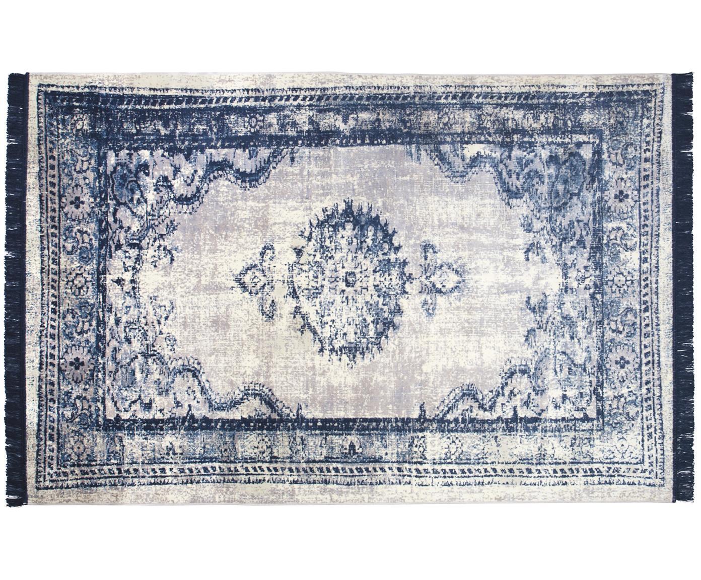 Vintage Teppich Marvel mit Fransen, Flor: 66% Kunstseide, 25% Baumw, Blau und Beigetöne, B 170 x L 240 cm (Grösse M)