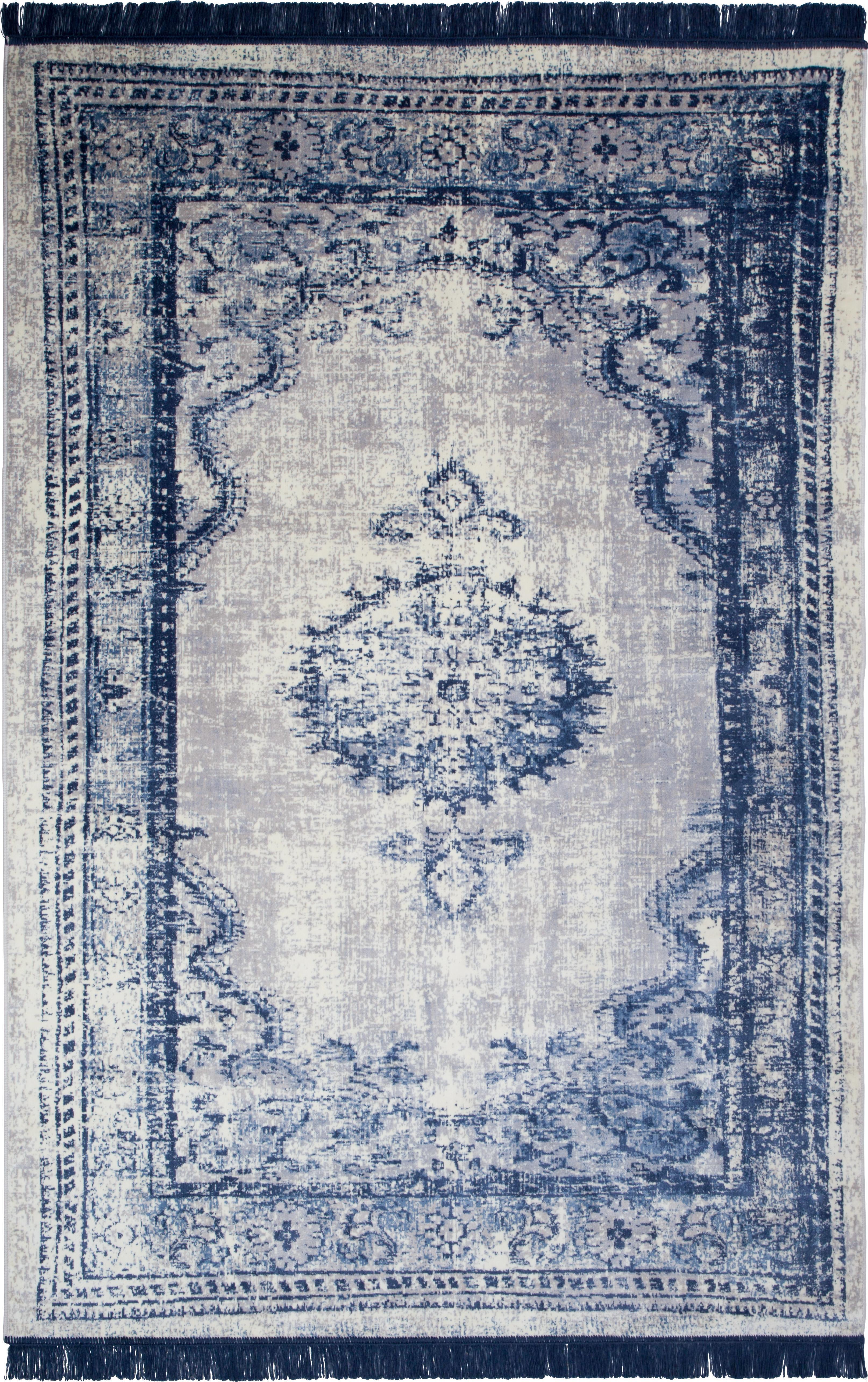 Vintage Teppich Marvel mit Fransen, Flor: 66% Kunstseide, 25% Baumw, Blau und Beigetöne, B 170 x L 240 cm (Größe M)